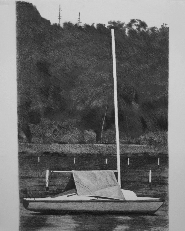 Boat with blue tarp-2012-pencil/paper-42x35cm