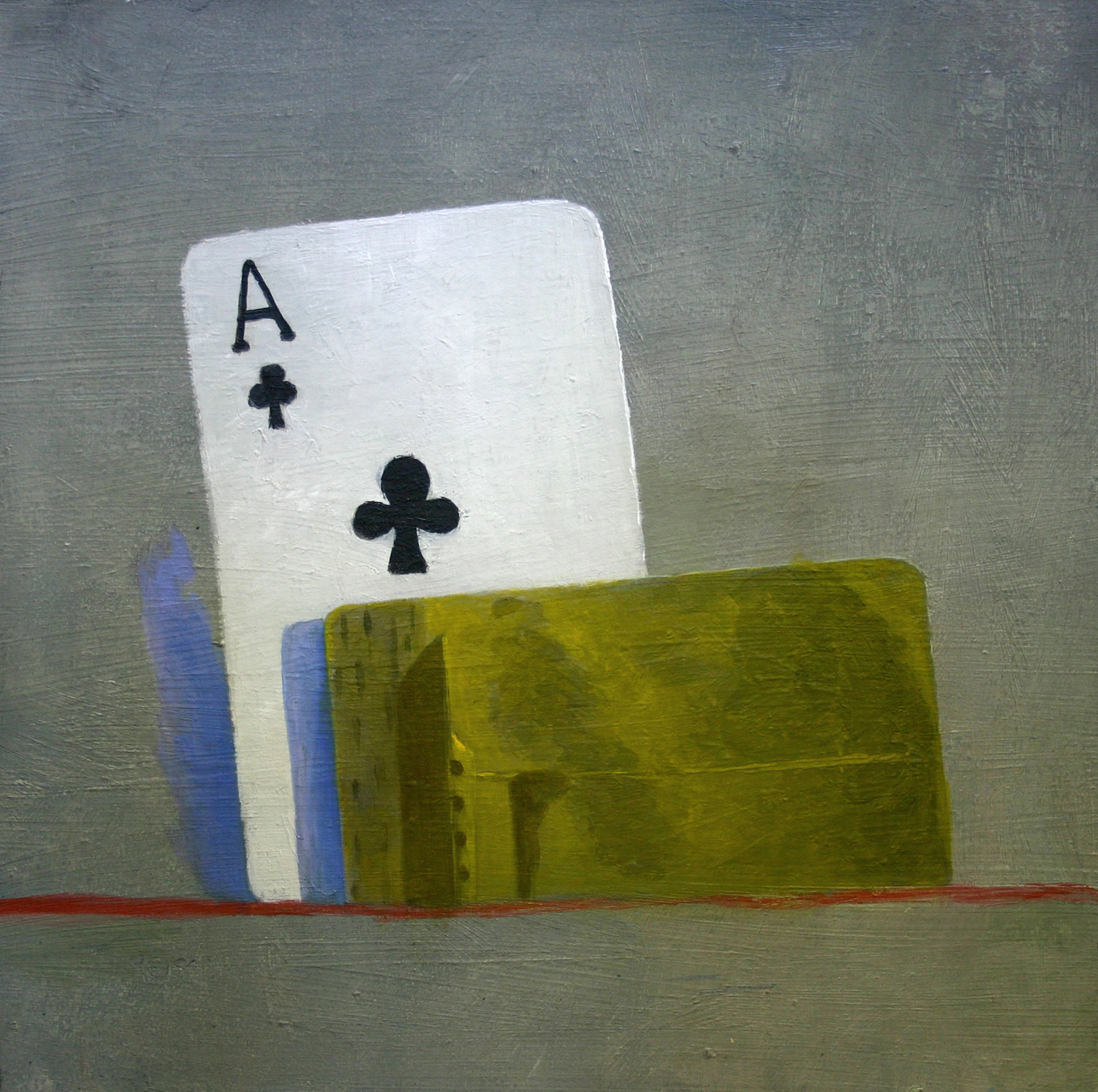 Ace of clubs -  oil on primed paper-30x30cm