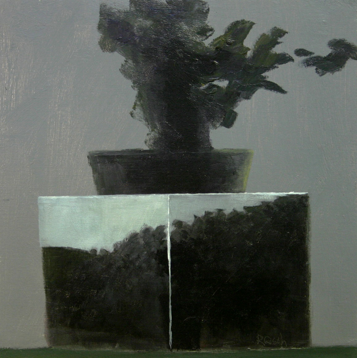 Plant with Landscape 11  -oil on primed paper-30x30cm