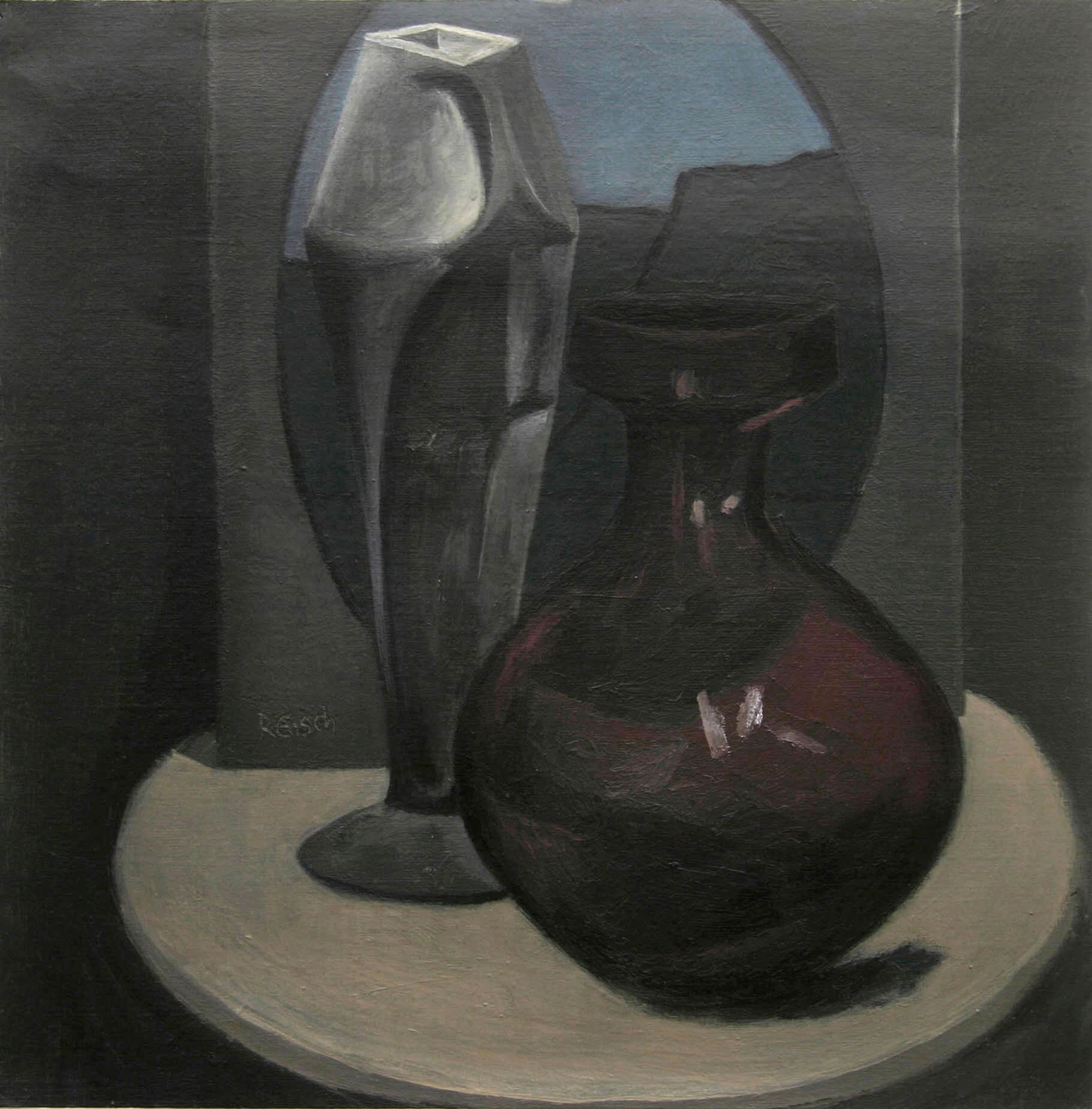 Still life with oval landscape-  oil on primed paper 30x30cm