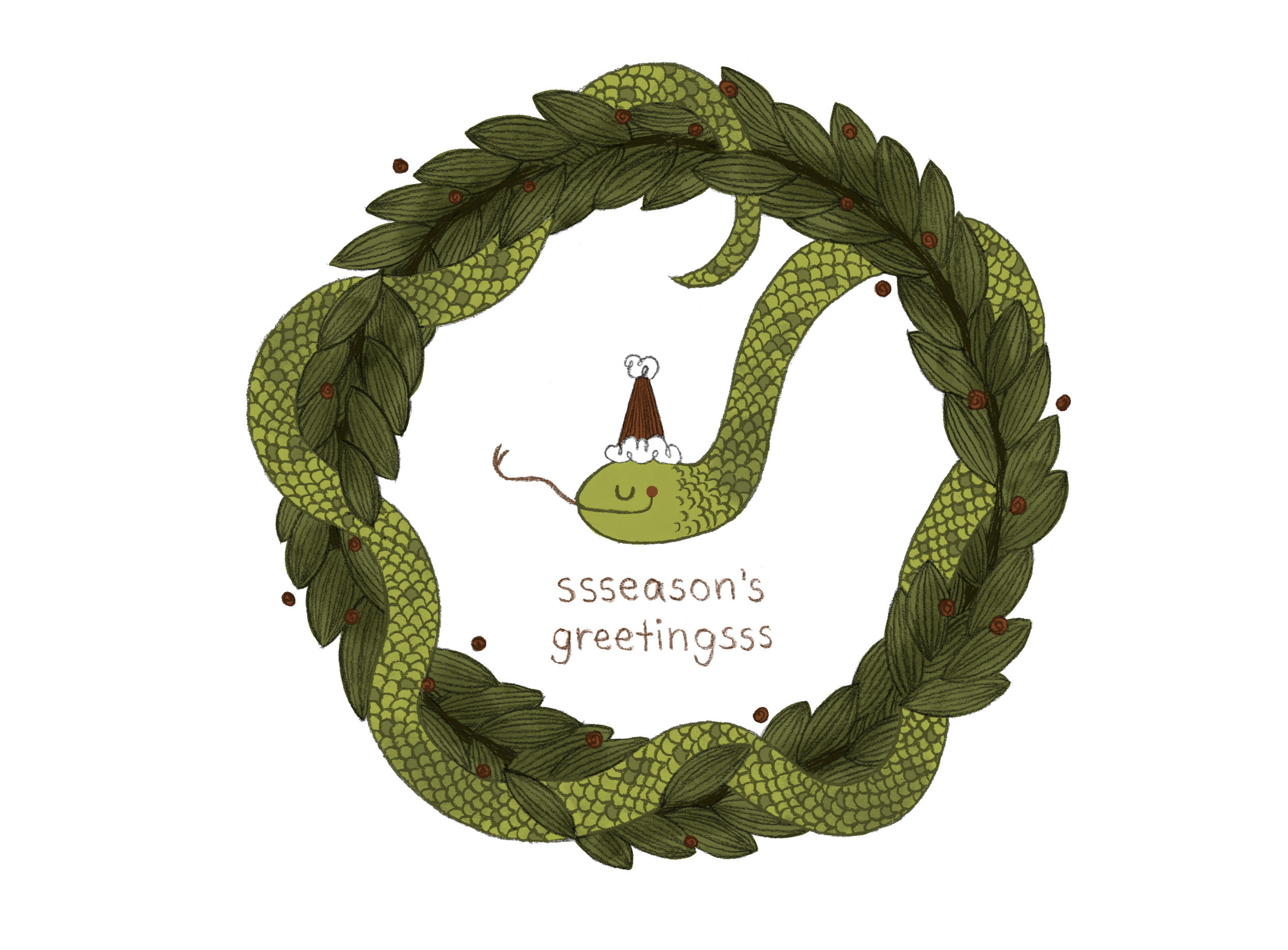 Holiday Snake Greeting Card