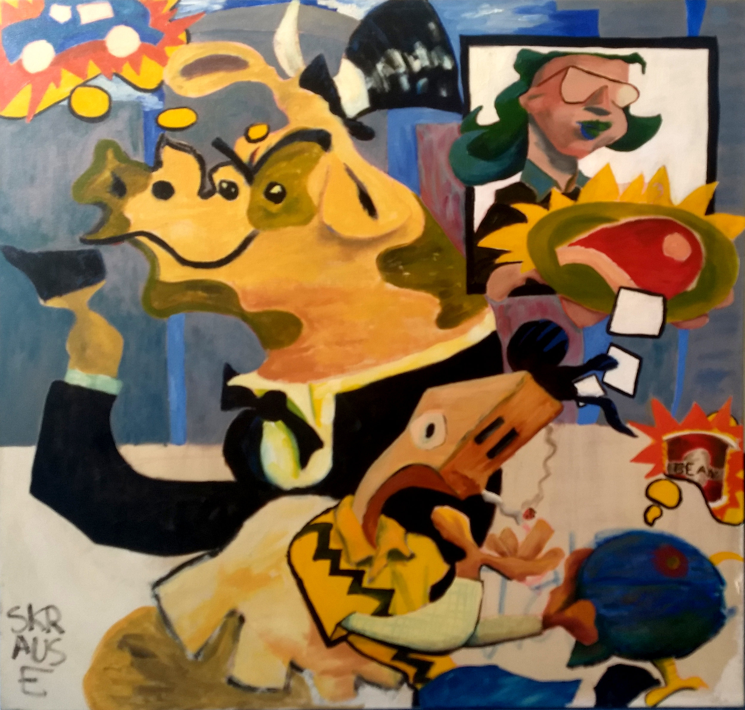 oil on canvas, Monty Blanc passes the Creampuss Cow in the Street, Carries Birdie. This painting ushered The Skrauss out of college and into the life of a professional artist.  Note that Skrauss' studio mate, Natalie Ratha signed the work while a blank canvas and The Skrauss incorporated her signature into the final work,