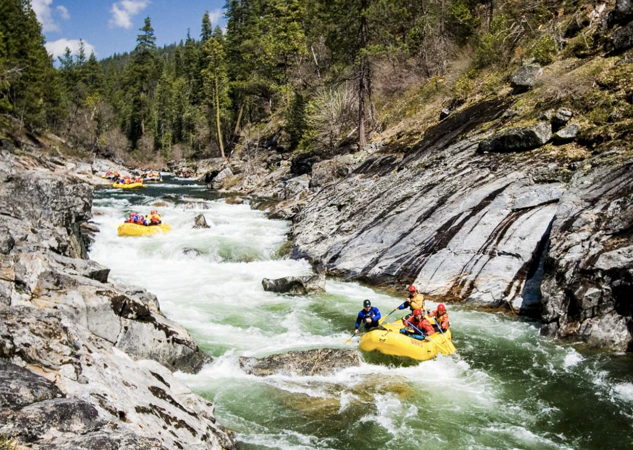 rafting - the sport or pastime of traveling down a river on a raft.