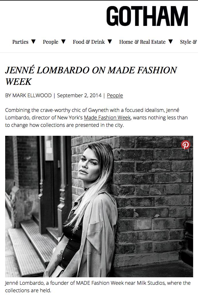 Gotham Magazine - Jenne Lombardo - MADE Fashion Week