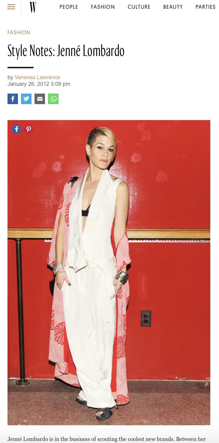 W Magazine - Jenne Lombardo - Style Notes
