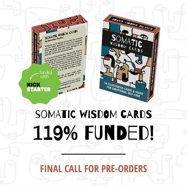 Ok. Say what!!!?! We are 119% FUNDED ON KICKSTARTER!!💖🔥😍🌷 OMG, this feels unreal. Everything seems to be falling in place in the final 48hours. Theres officially 7 hours left till the end of the campaign. So this is just a reminder for you all who have wanted to preorder a deck to get it now!!😊 . Link in bio. . . I am so celebrating this milestone right now, thank you all SO SO MUCH for the support and encouragement. I'm so stoked about sharing this with the world and seeing where this journey is taking me next. . . So much love and big hugs! 😘 . . #milestone #kickstarter #fullyfunded #indiedeck #somatic #emotionalintelligence #abstractface #selflove #success #selfpublishing