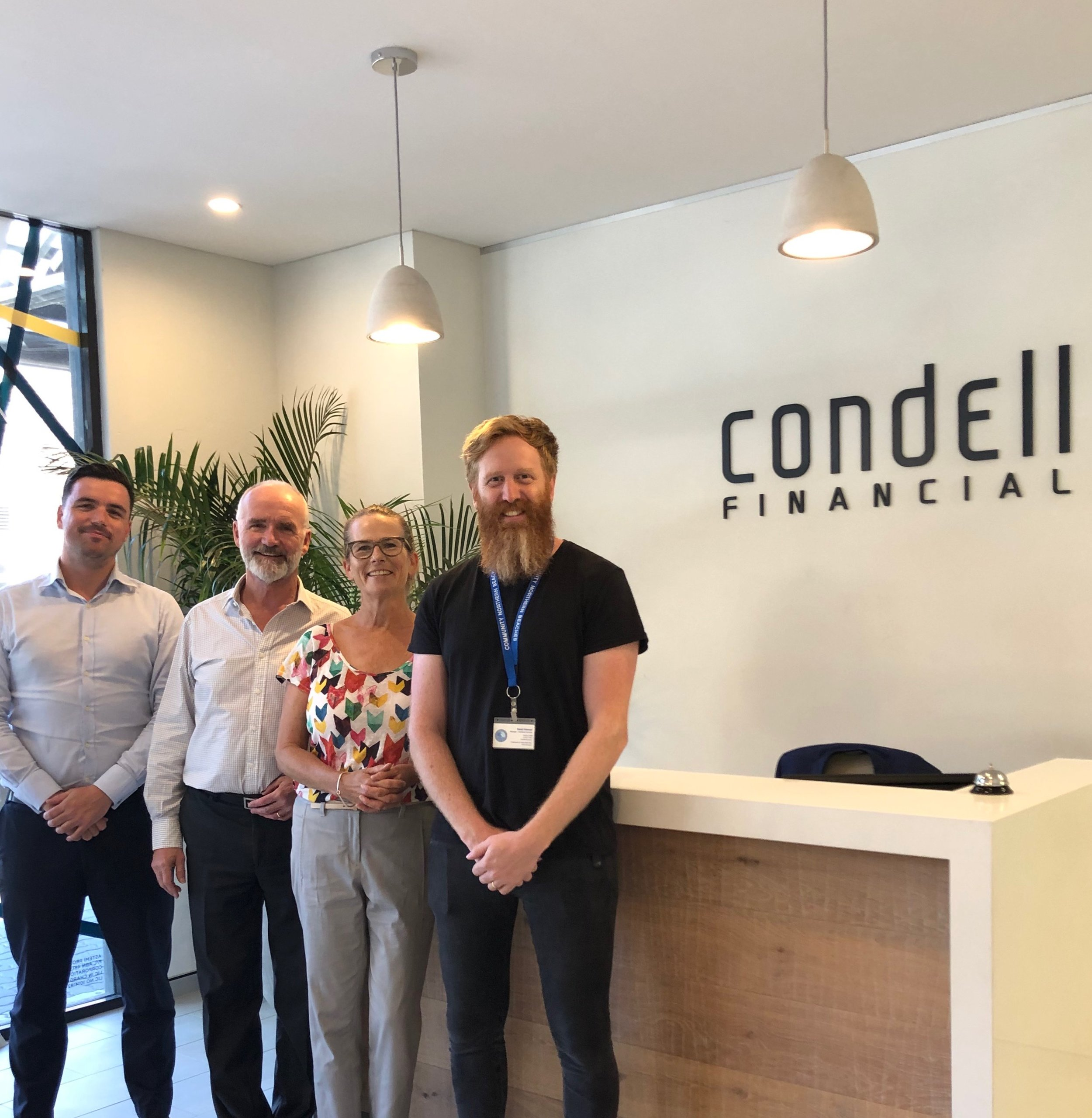 Sean and Andrew Condell from Condell Finance with Kym Fowler and Daniel Peterson from Community Northern Beaches