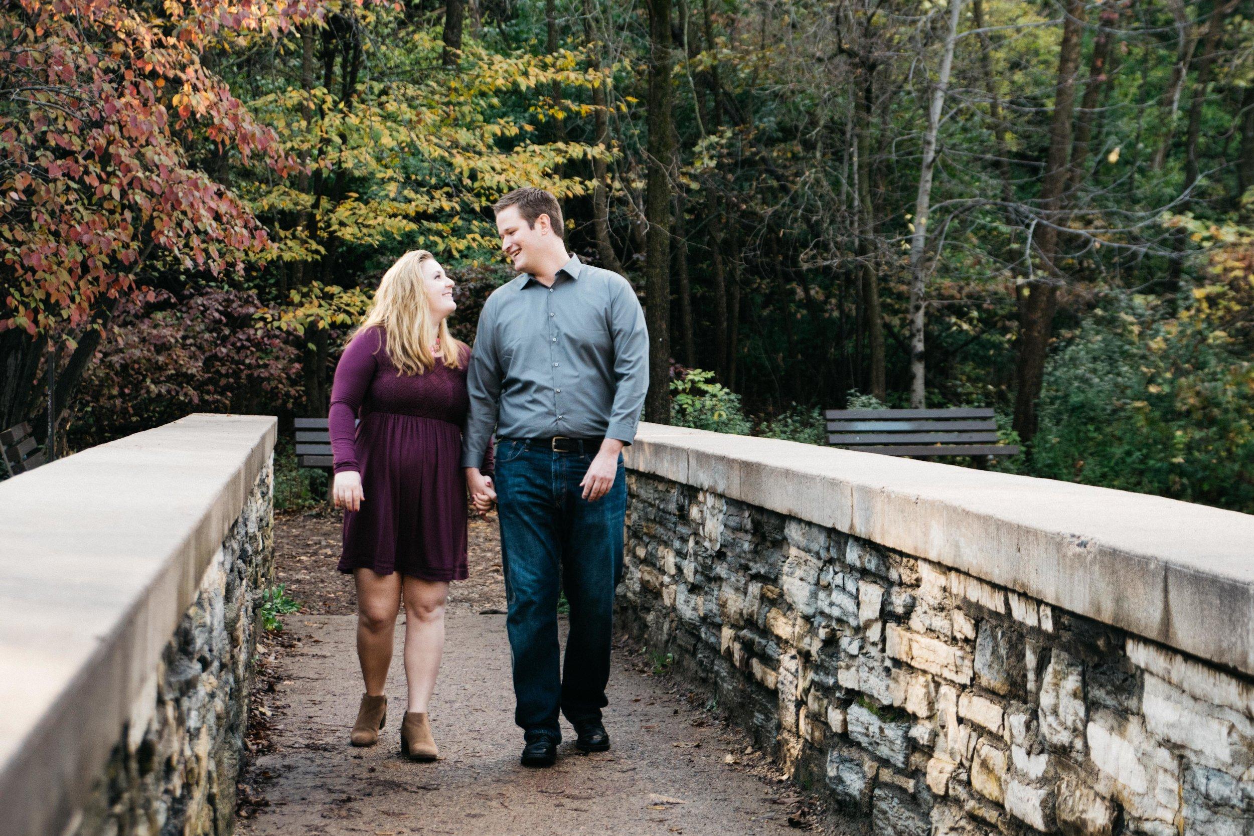Autumn Bridge Engagement Minnehaha Falls
