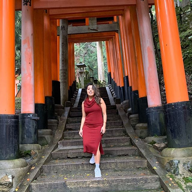 Hiked 765 feet up Mt. Inari and through 10,000 torii gates to see the shrine of foxes regarded as messengers of God in Japanese to make all our good dreams and wishes come true... but then again what more can a girl want 🧡 (PS: I better win in fantasy this week. Just saying)
