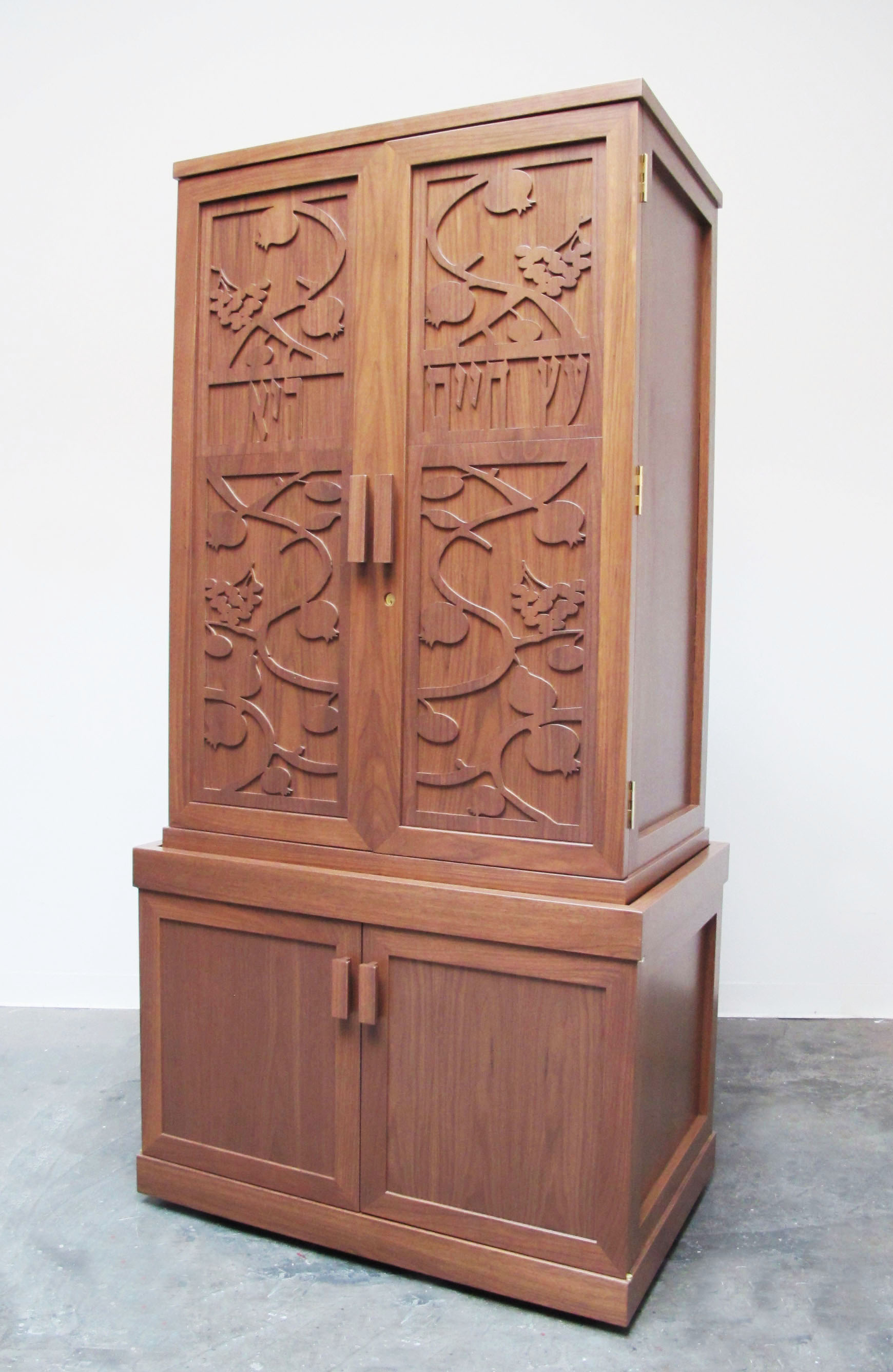 Mahogany Fruit and Branches Two Torah Ark with Storage