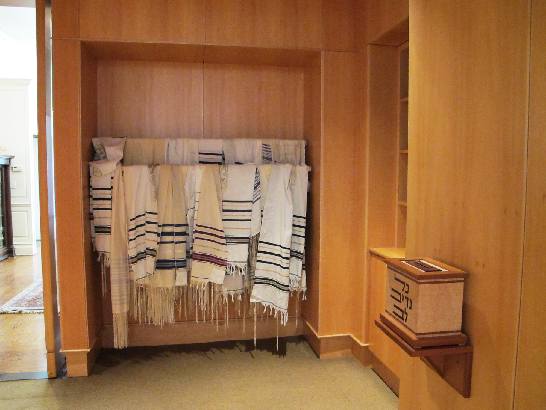 Tallit Racks and Charity Boxes
