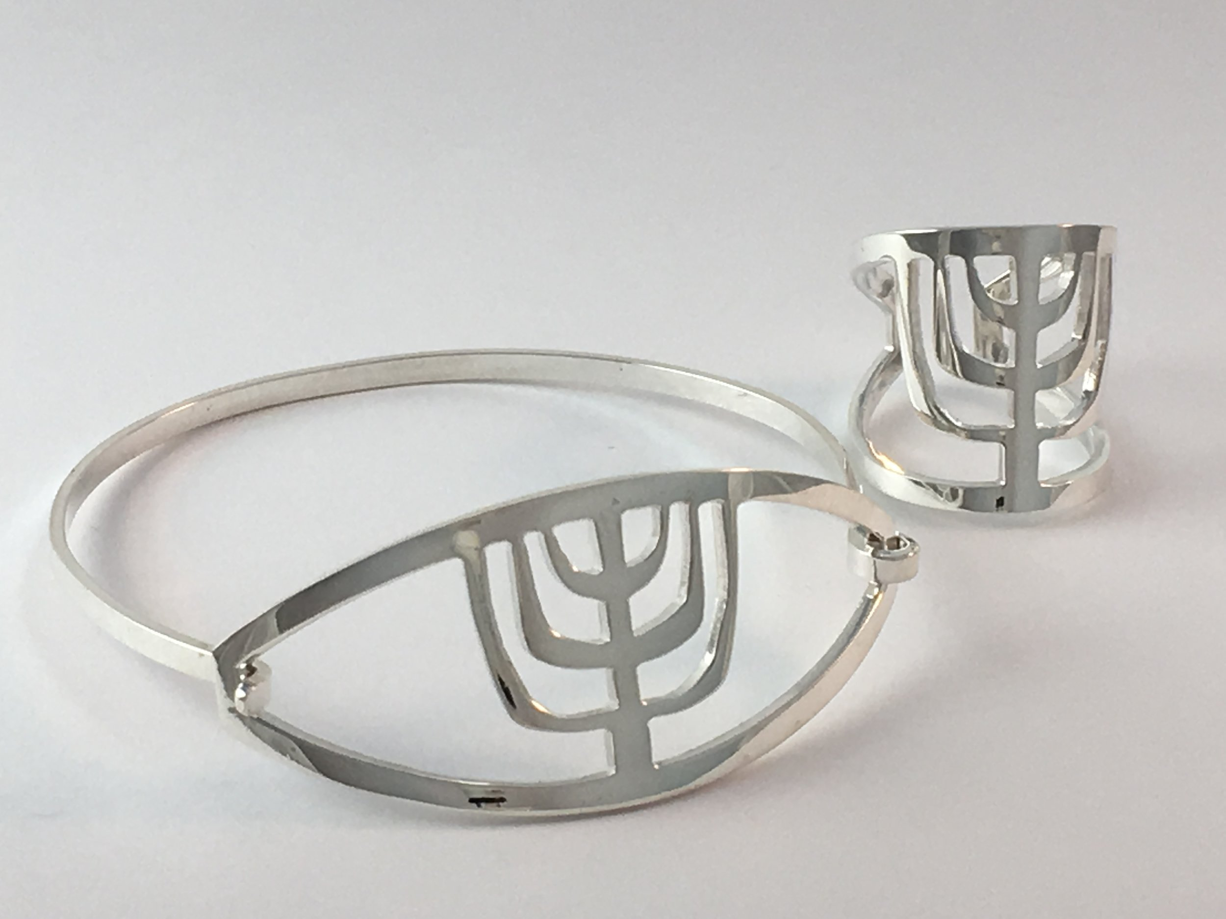 Menorah Bracelet and Matching Ring Judaic Jewelry