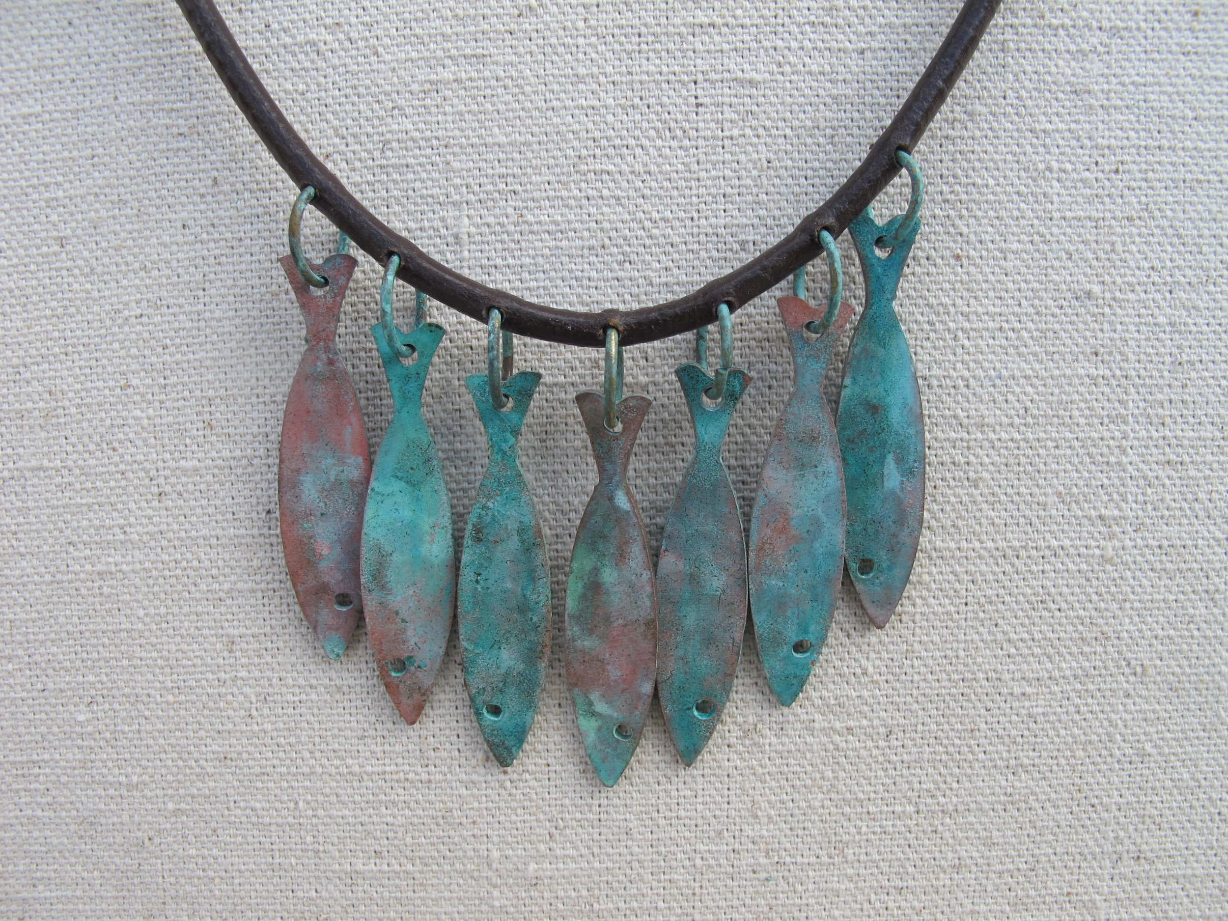 Patina Fishes Necklace Judaic Jewelry
