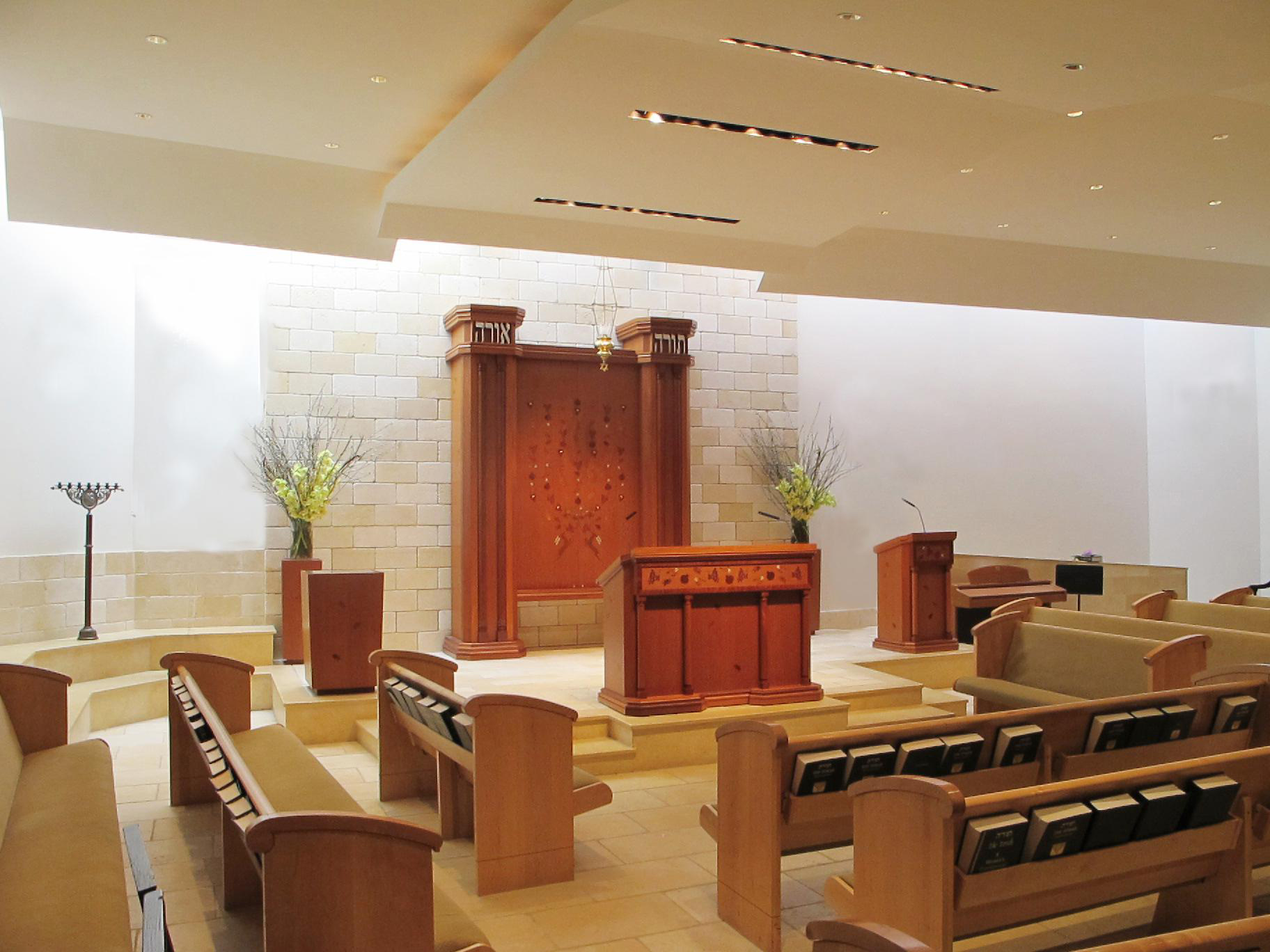 SYNAGOGUE DESIGN - Elegant Bimah furniture and art, interior synagogue design, stained glass and fine collectible Judaic objects.Clients experience absolute commitment. Our background in fine arts and regard for high quality are a critical consideration when comparing Studio Gruss to other firms involved in Synagogue design.