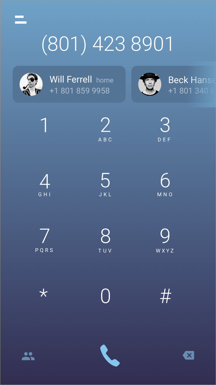 Alternate idea for dial screen with contact numbers (home, cell) listed in pills