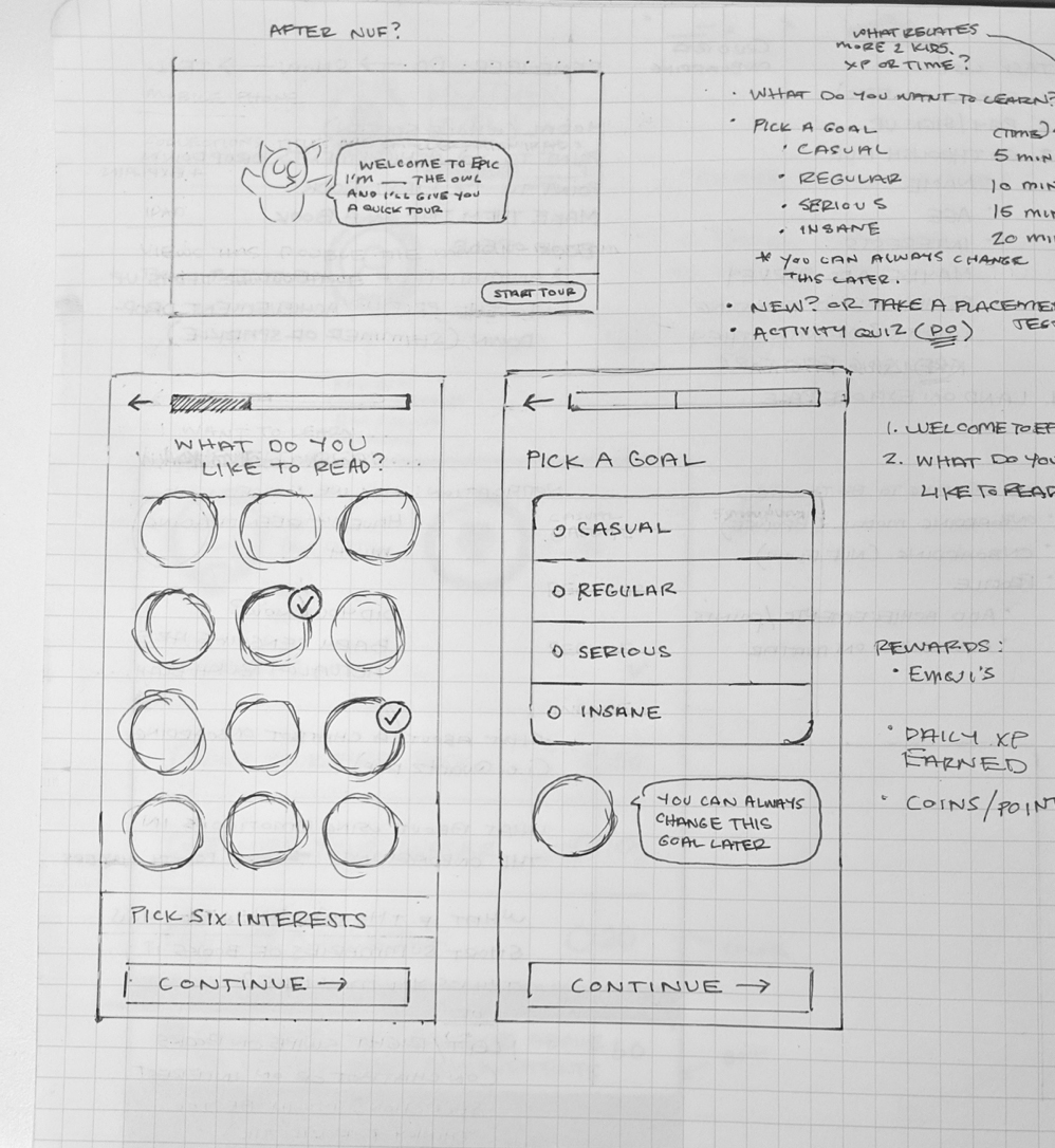 Some early sketches of screens for picking interests and a daily reading goal.