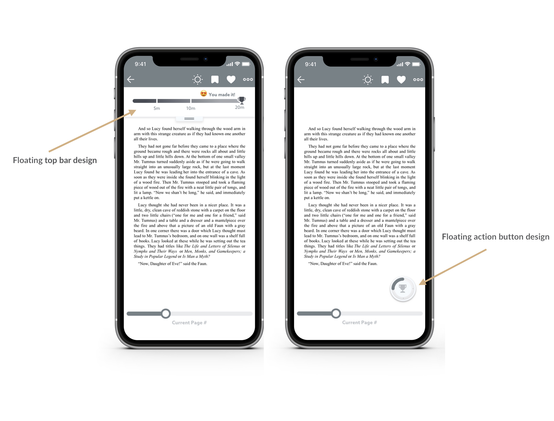Wireframes for both the  Top Floating Bar  (Design 1) and the  Floating Action Button  (Design 2)