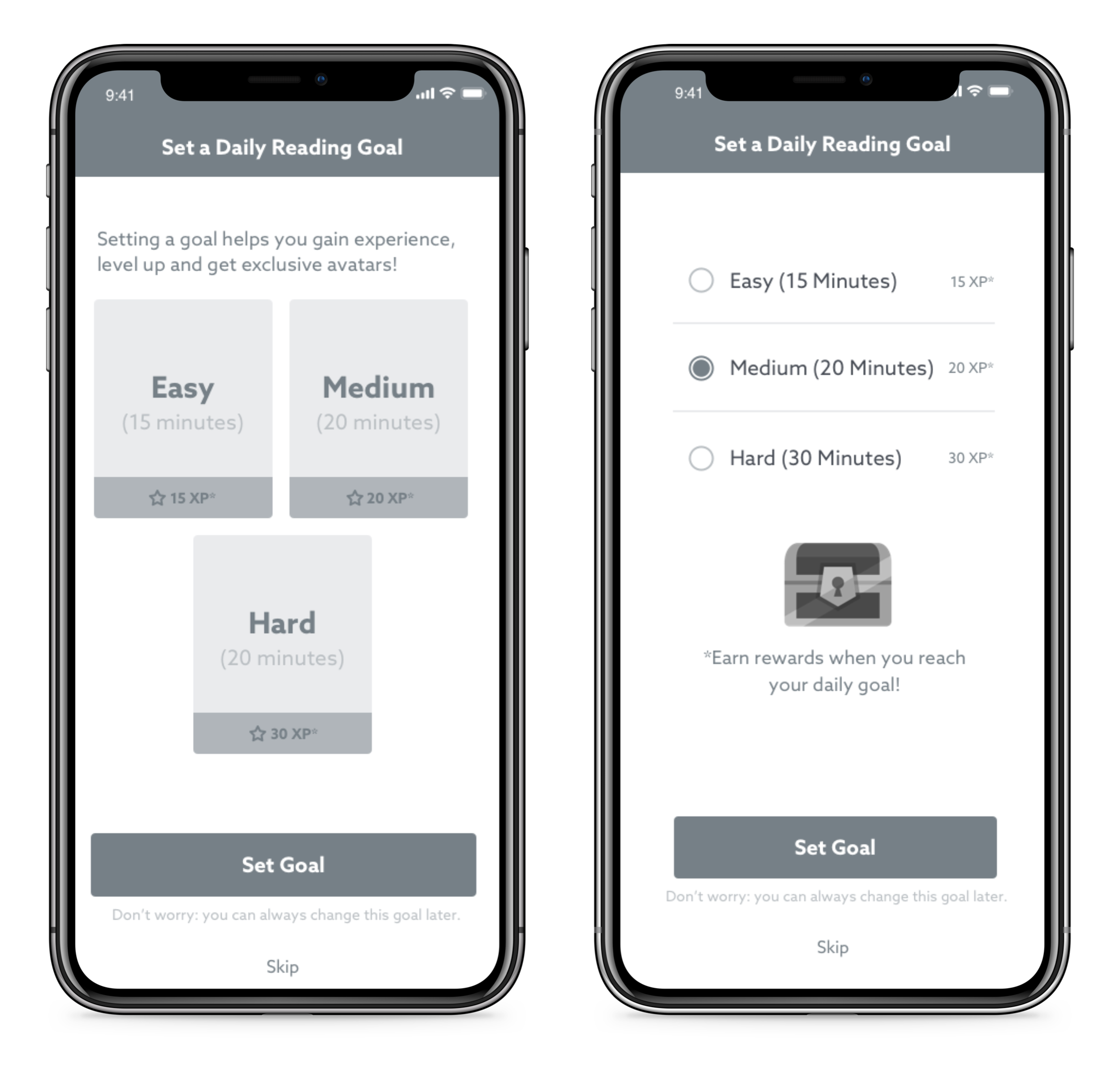 Wireframes for setting a goal