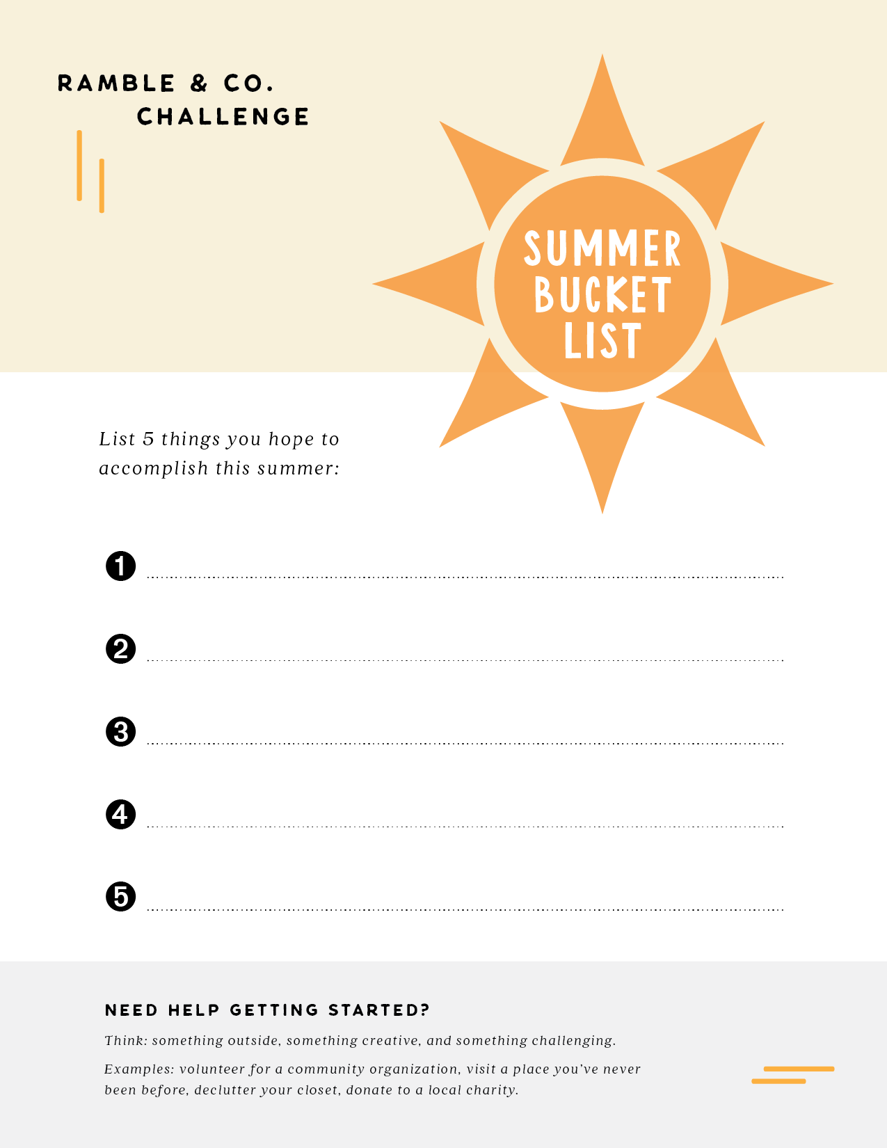 Ramble & Company \\ summer bucket list challenge printable