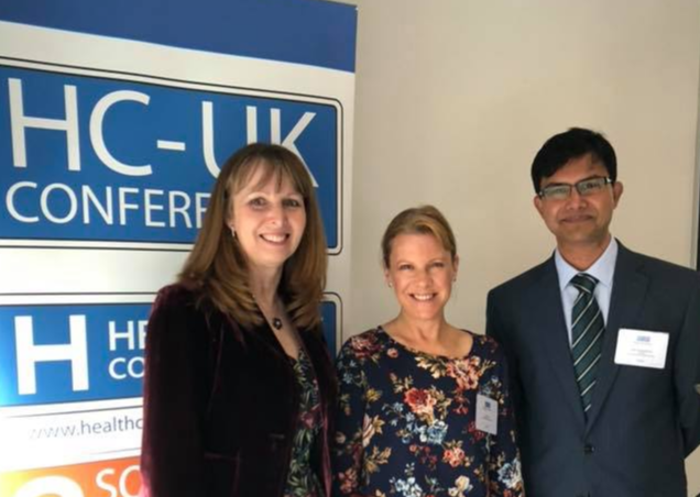At the Perinatal Mental Health Summit, London in 2018 with perinatal mental health advocate Elaine Hanzak and obstetrician Dr. Raja Gangopadhyay.