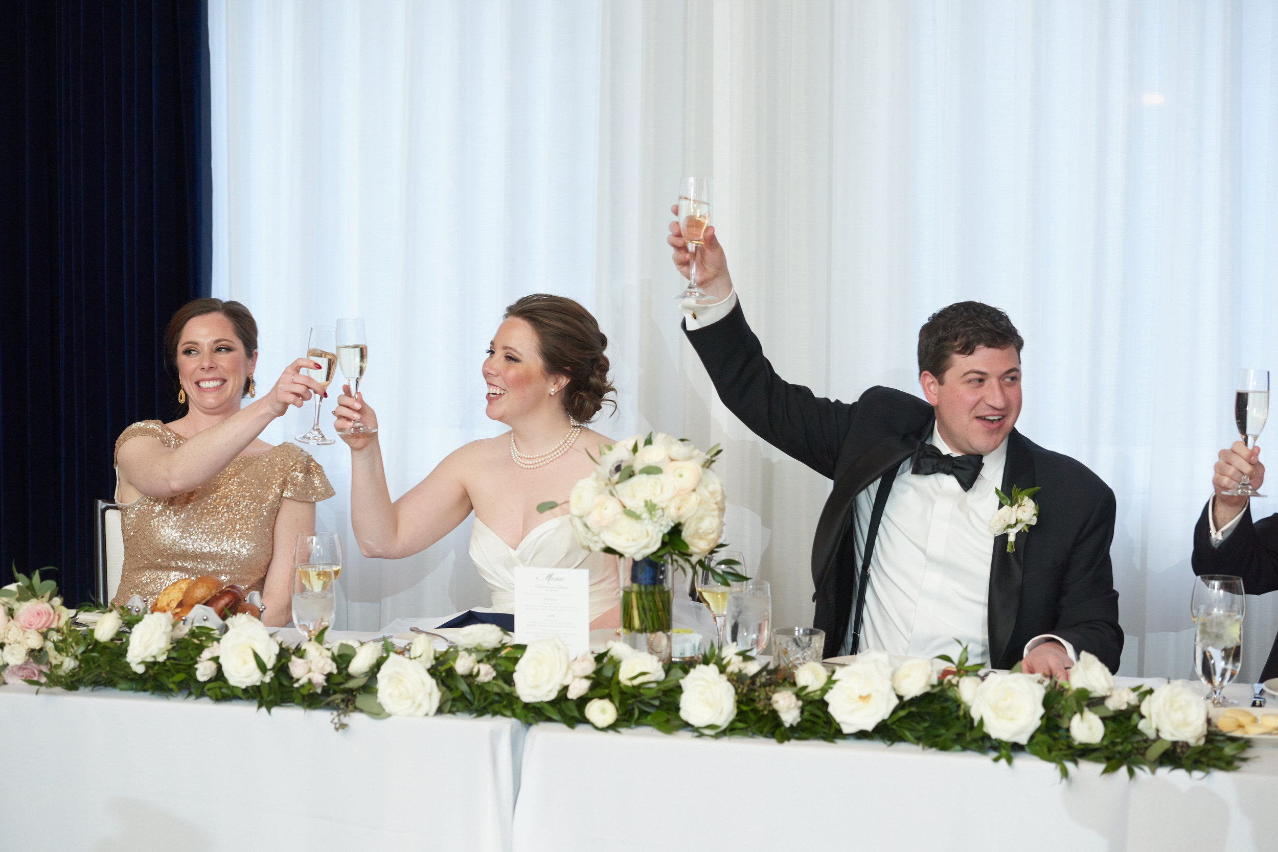 head table floral garland white and green wedding chicago