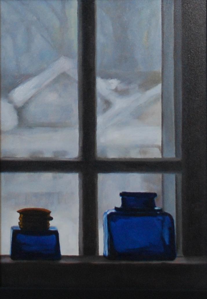 Blue Bottles on Window