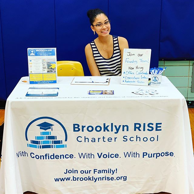 Find us today at the Sunset Park Community Career Expo! . . We are still hiring an Office Coordinator, an Operations Summer Intern, and a Kindergarten Teacher for the 2019-20 school year - interested applicants can apply on our website www.brooklynrise.org . . #brooklynRISE #bkRISE #withconfidence #withvoice #withpurpose #togetherwerise #community #sunsetpark