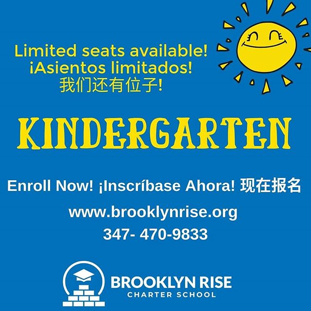 Only a few Kindergarten seats left!  Brooklyn RISE is a tuition-free elementary school in Sunset Park, Brooklyn. We are offering a small school option with smaller class sizes and two teachers in every classroom, so that our students get the attention and supports they deserve.  We are so excited to open our door this fall and can't wait for your Kindergartner to join us 😊  Register today and join our Founding Family! www.brooklynrise.org | 347-470-9833  #bkRISE #brooklynRISE #togetherweRISE #sunsetpark #kindergarten