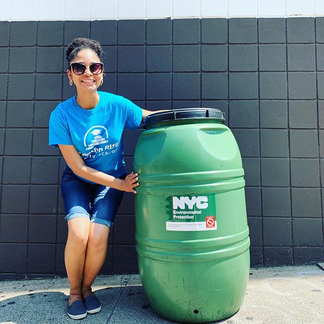 Thank you @felix_w_ortiz for hosting a rain barrel giveaway for the Sunset Park community! We picked one up today for Brooklyn RISE that we plan to place on the roof and collect water to use for watering the plants in our building 🌱💦 . . Did you know that rain barrels protect the ocean by collecting water that would normally become harmful runoff filled with chemicals and detritus? 🧐 . . Our students will learn the importance of protecting the environment and ways that we can all do our part to help the 🌎 . . #brooklynRISE #bkRISE #withconfidence #withvoice #withpurpose #togetherweRISE #sunsetpark #community #gogreen #protecttheplanet #reducereuserecycle