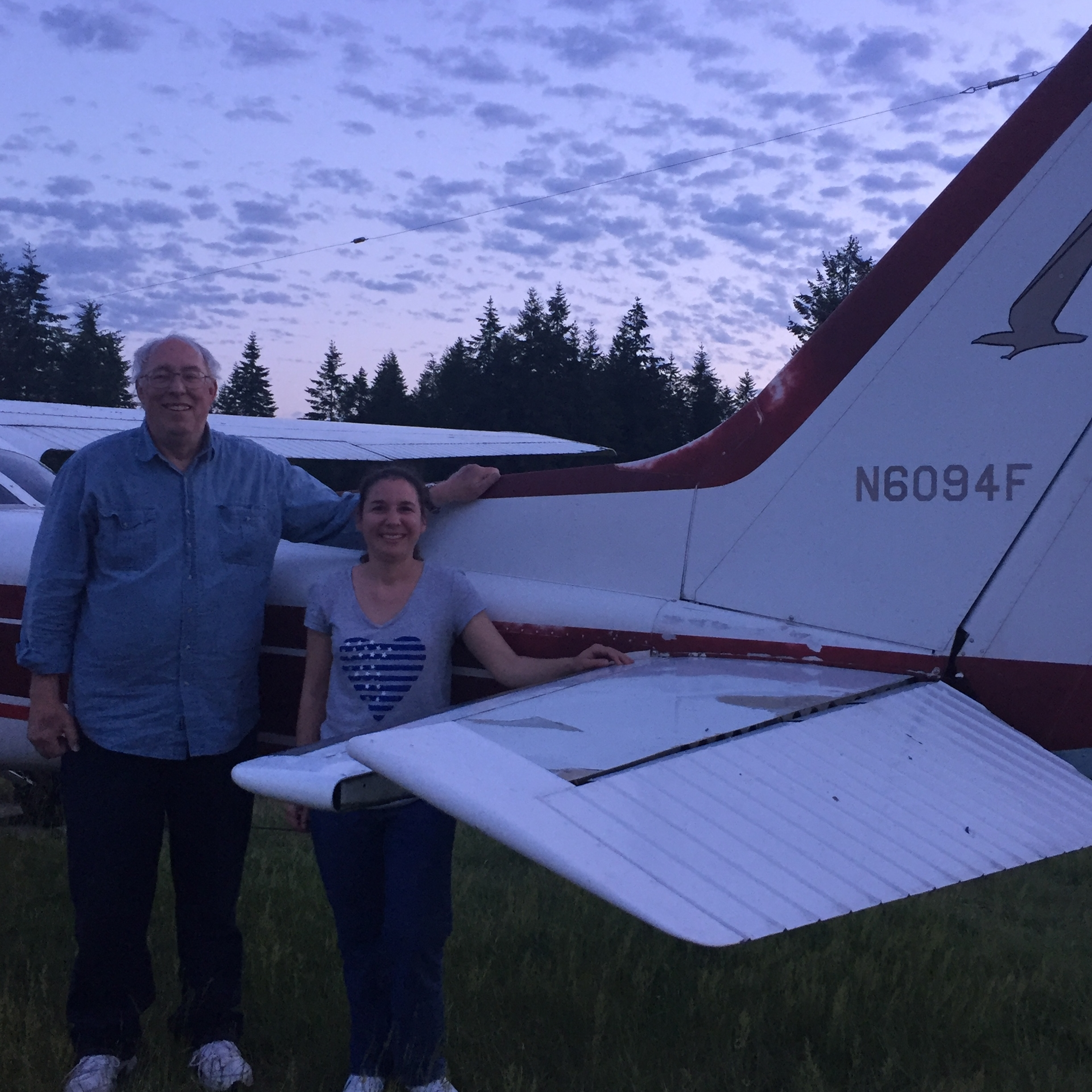 Greater Seattle member Julie Baker with her instructor Dave Lehman on her solo flight 5-29-17. Julie was the 2017 recipient of the Nancy K. Jensen Memorial Scholarship that is offered to women student pilots through the Greater Seattle Ninety-Nines.