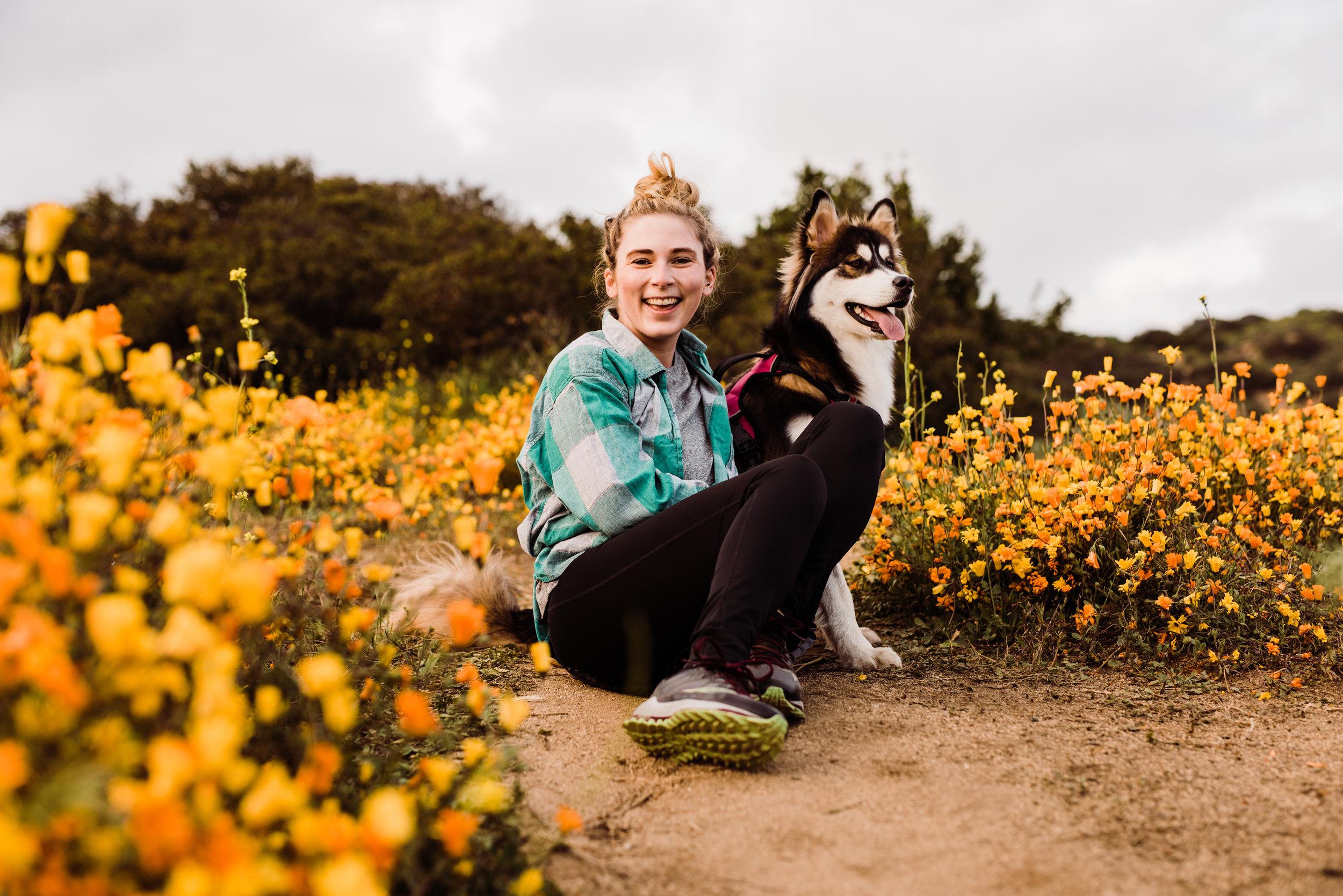 LA hiking photographer with husky