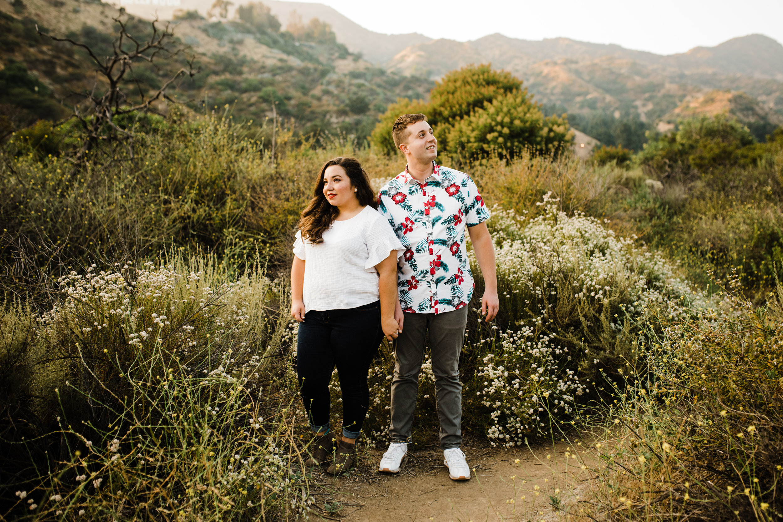 Hipster couple at Bronson Canyon for their engagement session in Los Angeles, California.