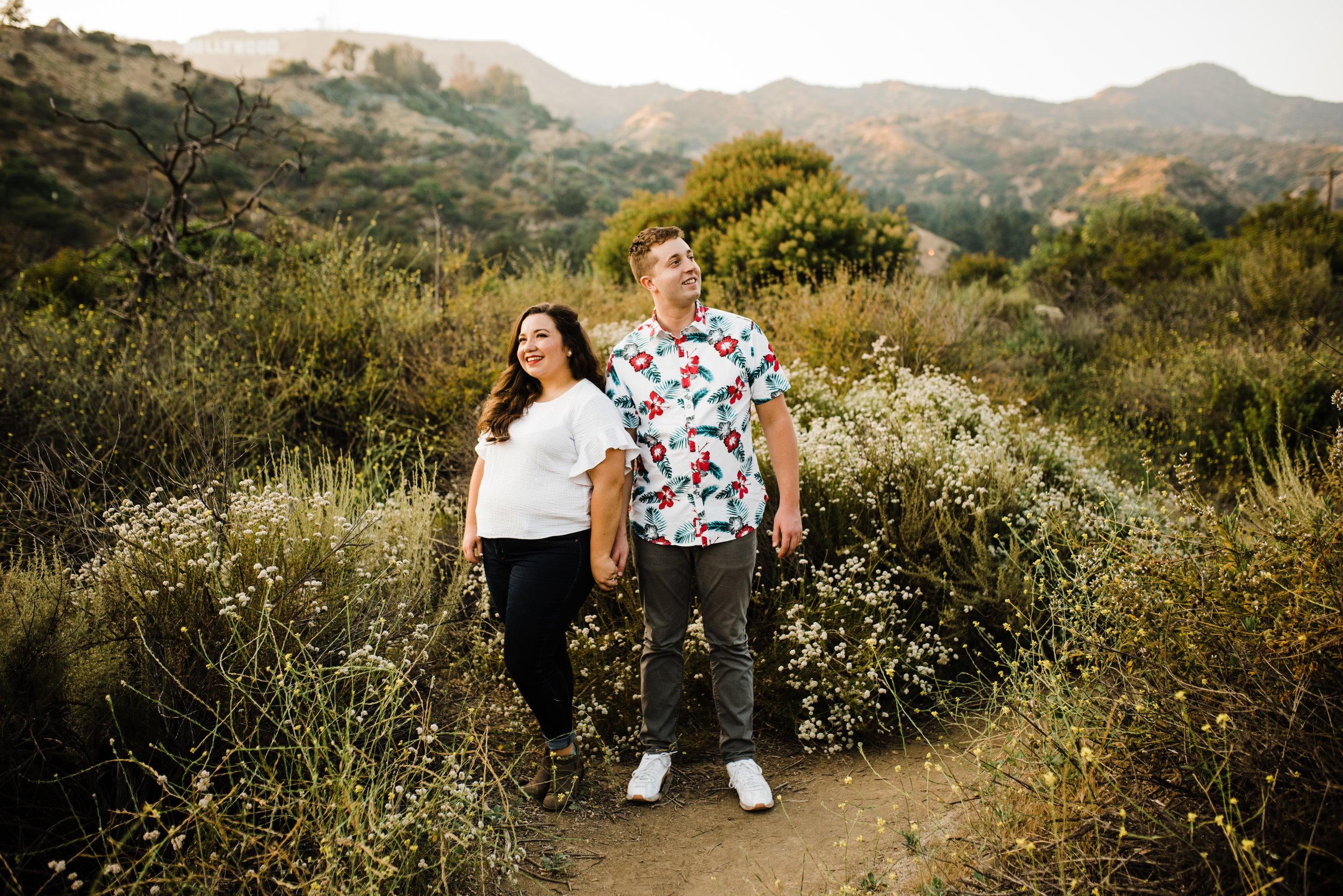 Retro couple at Bronson Canyon for their engagement session in Los Angeles, California.