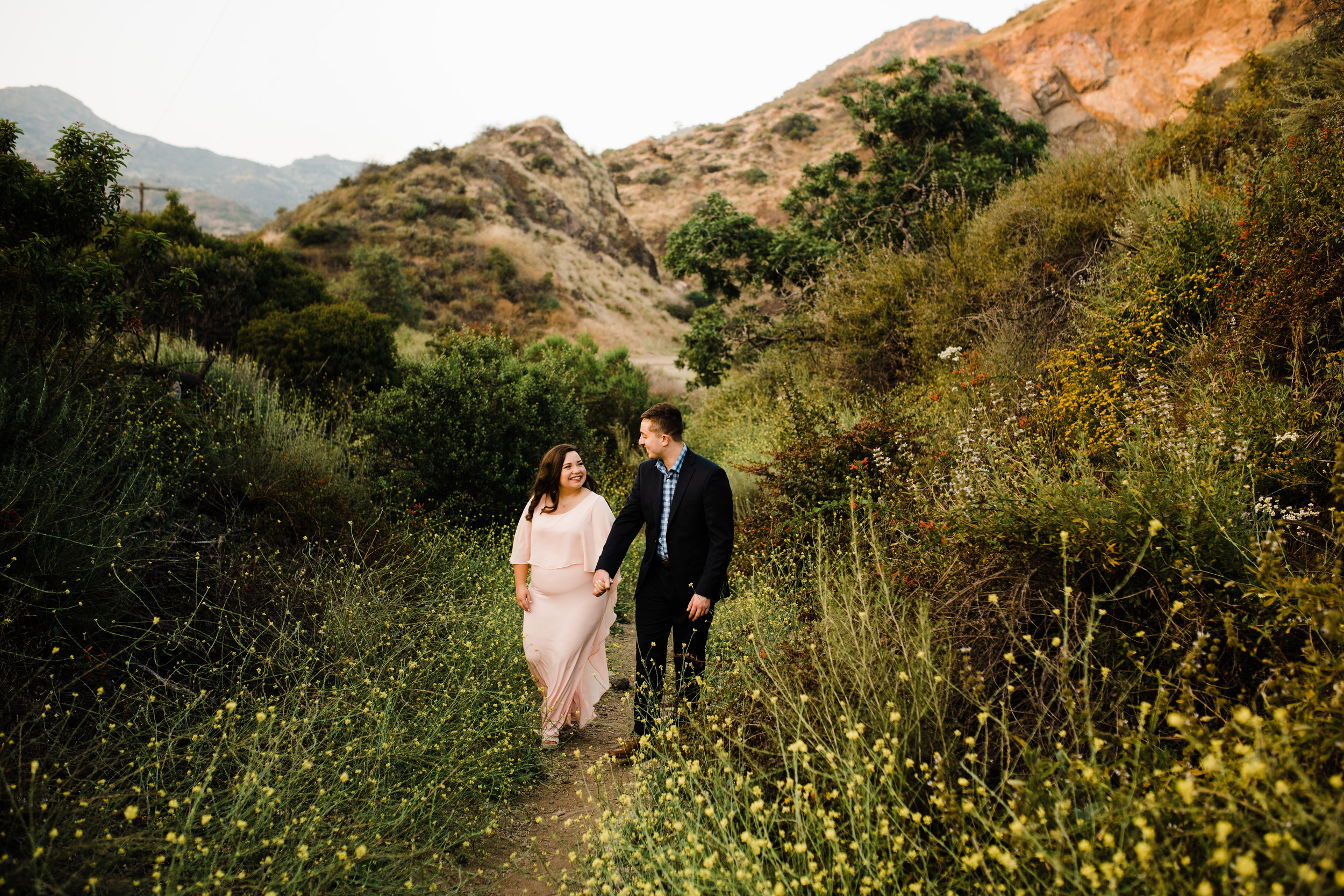 Formal wear at an adventurous engagement shoot in Los Angeles, California