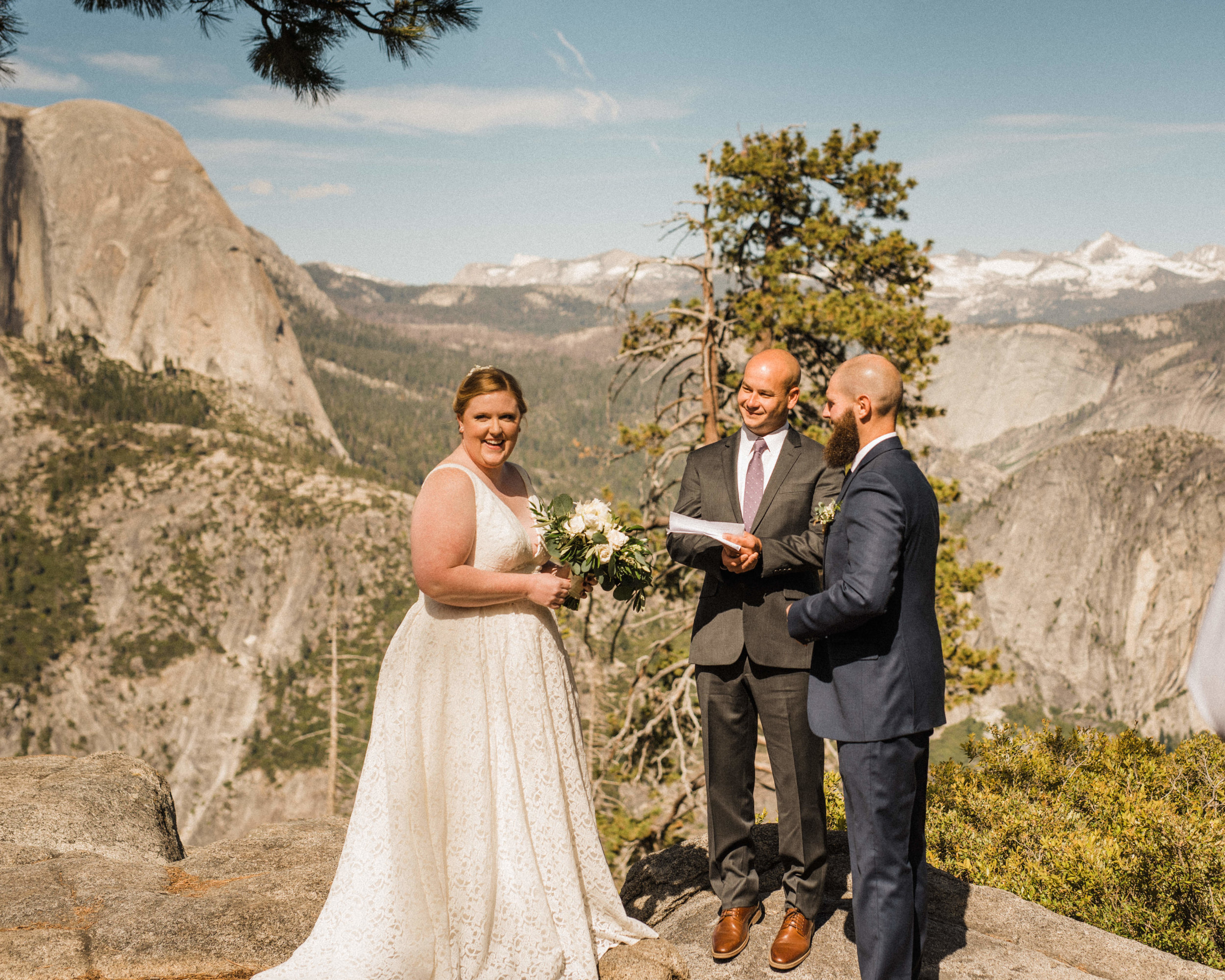 Couple and Officiant at Glacier Point Elopement in Yosemite National Park
