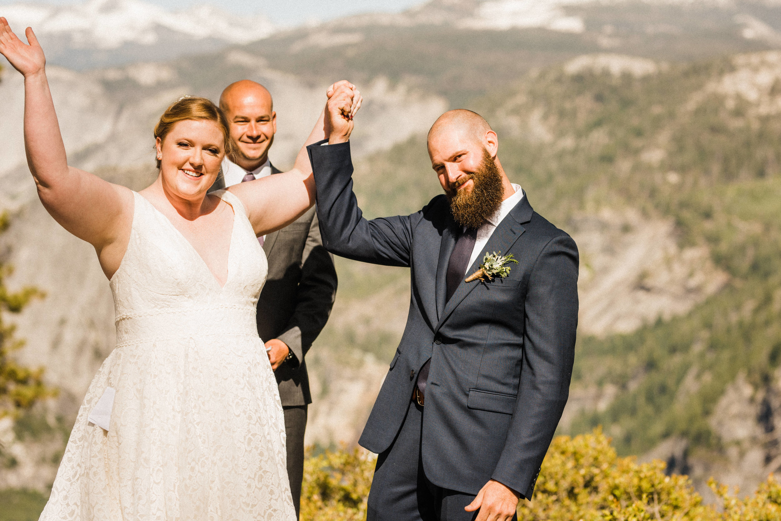 Couple after Elopement Ceremony at Glacier Point