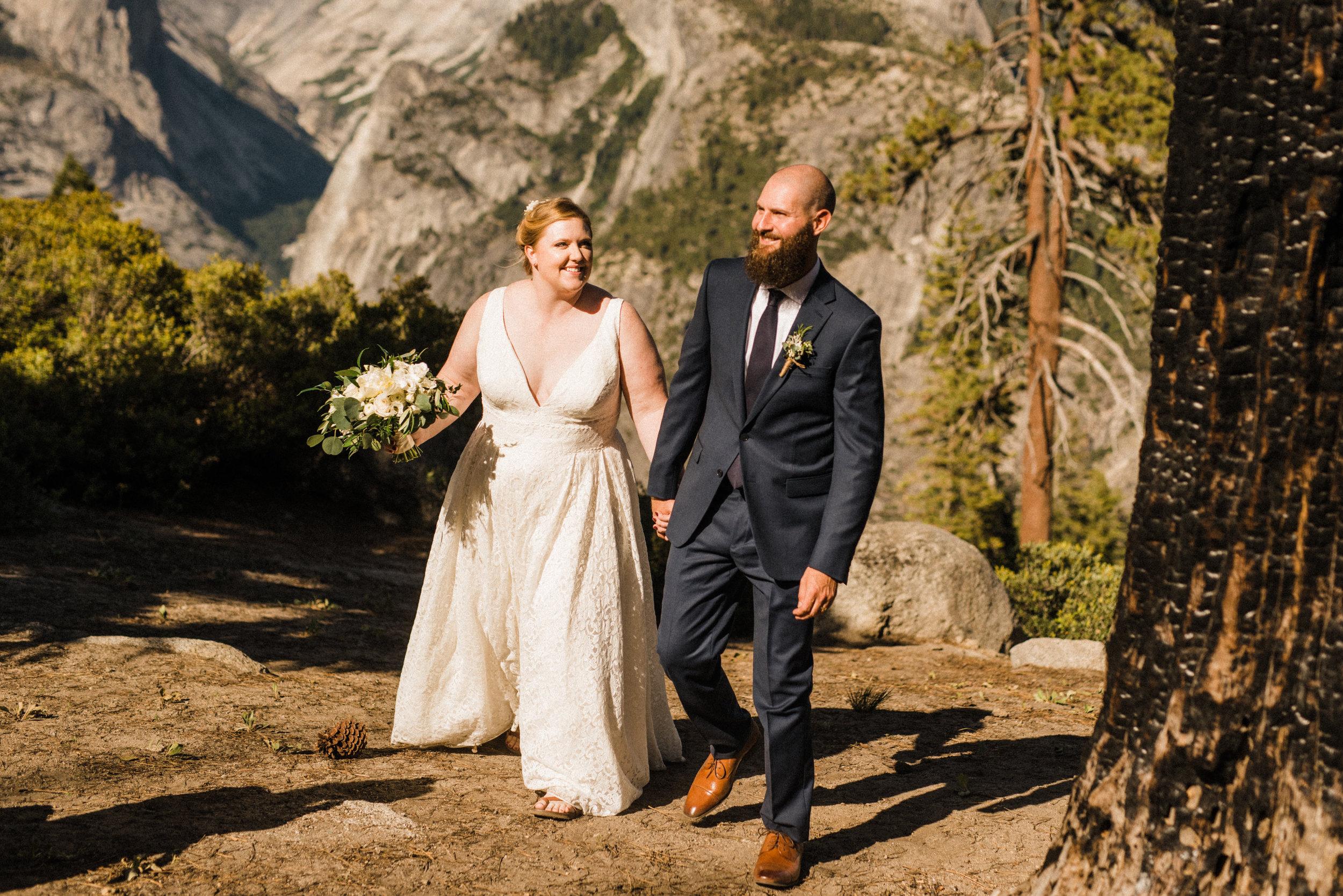 Bride and Groom walking at Yosemite National Park