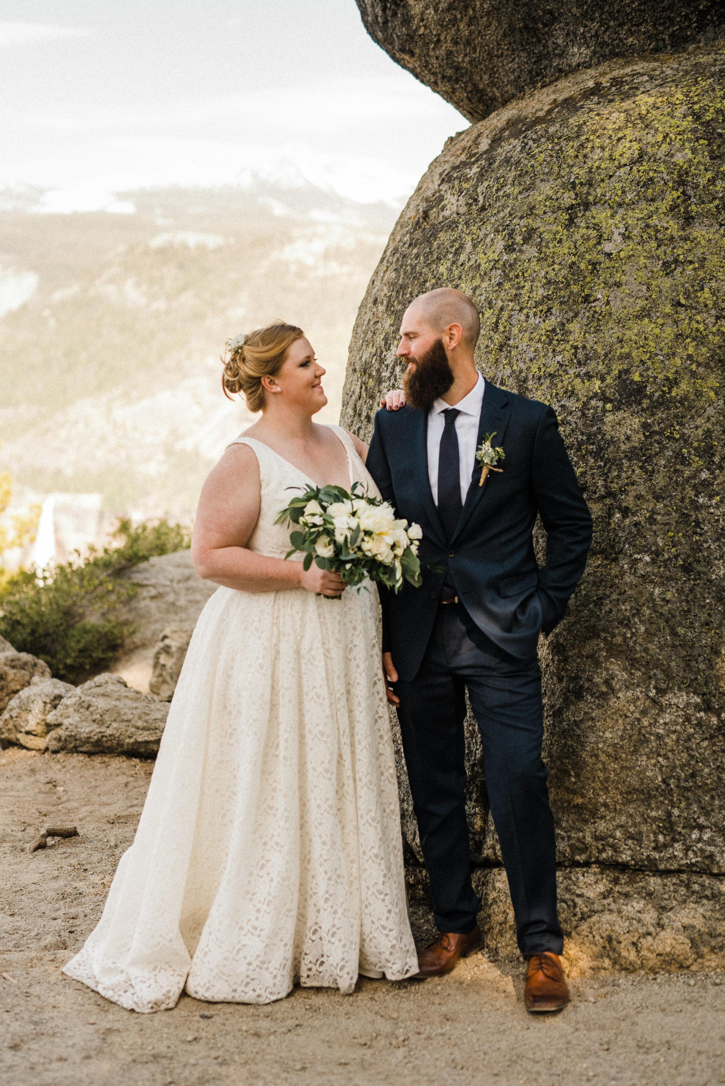 Glacier Point Yosemite Wedding with adventurous Bride and Groom