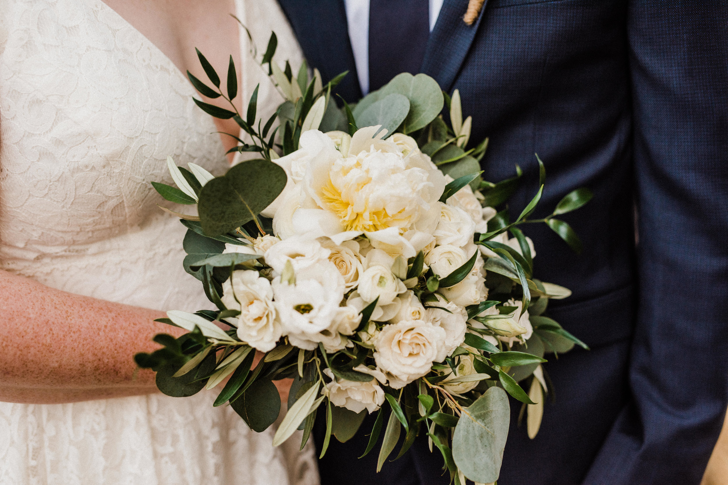 Romantic and classic green and white floral bouquet at Glacier Point elopement