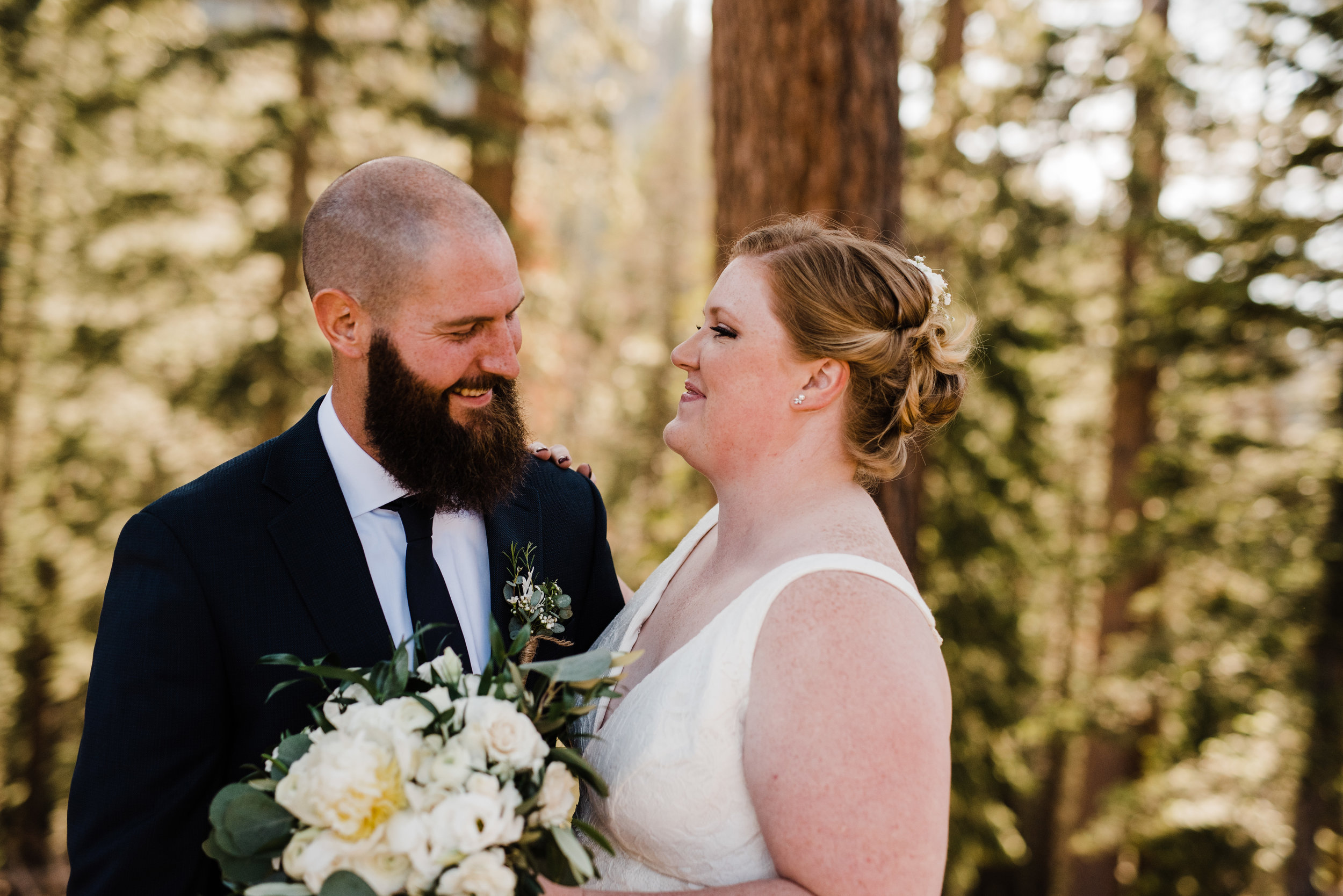 Summer Bride and Groom at Yosemite National Park with Classic, Romantic Color Scheme
