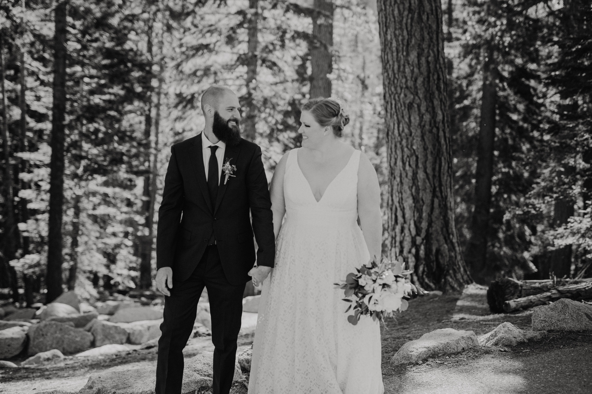 Bride and Groom laughing at Glacier Point, Yosemite Elopement