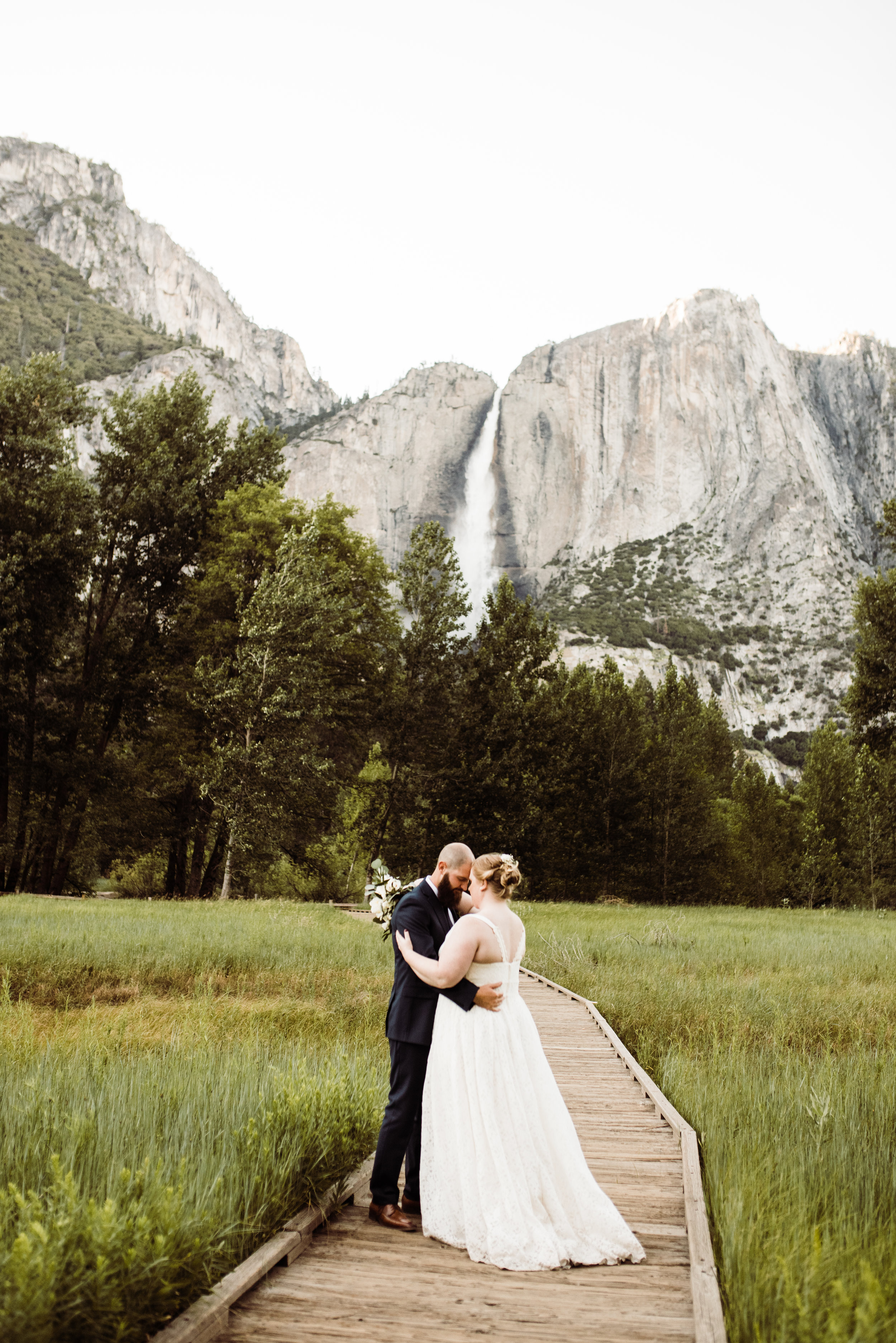 Couple's first dance in Yosemite Valley after their Glacier Point Wedding Ceremony