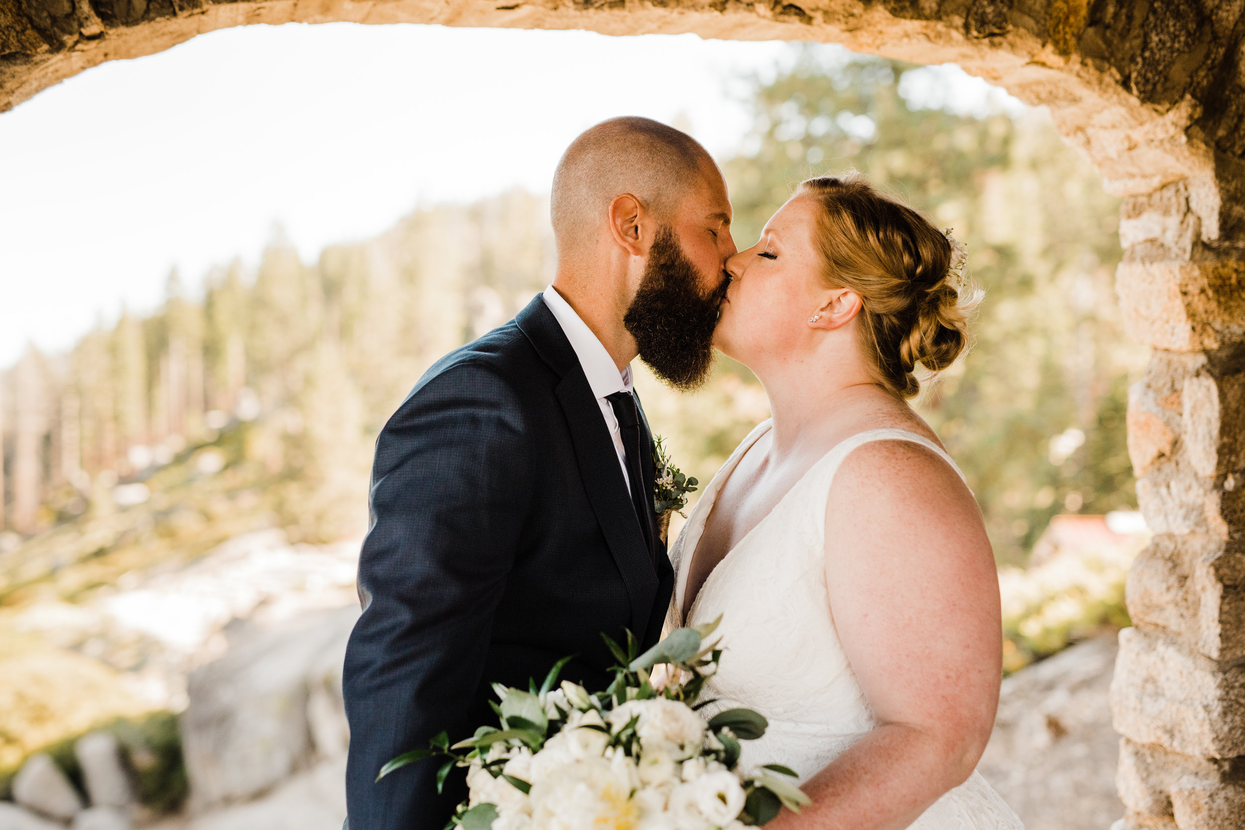 Wedding Portraits in Yosemite's Geology Hut Built in the 1920's