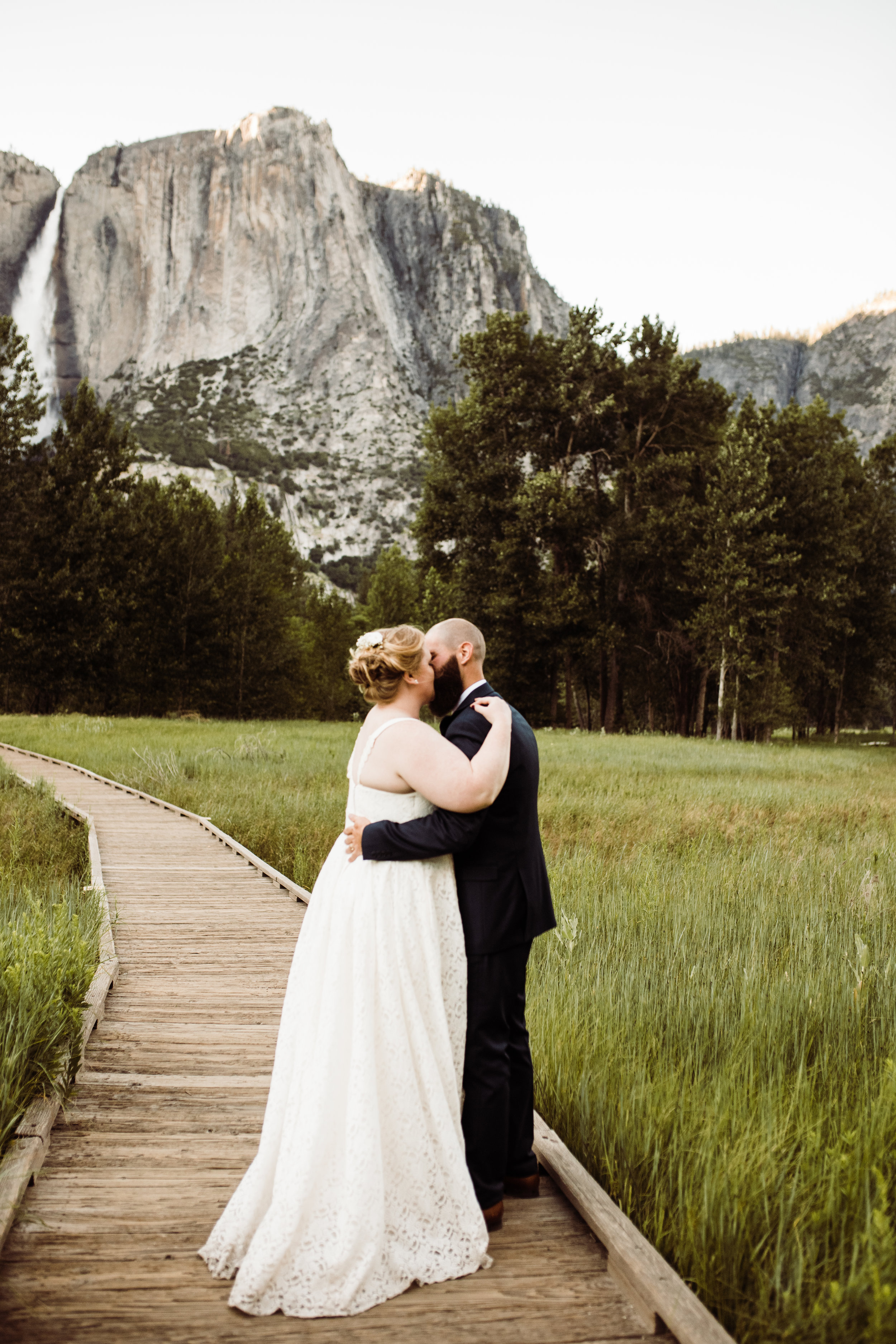 After the couple exchanged vows at Glacier Point, we took summery sunset photos in Yosemite Valley