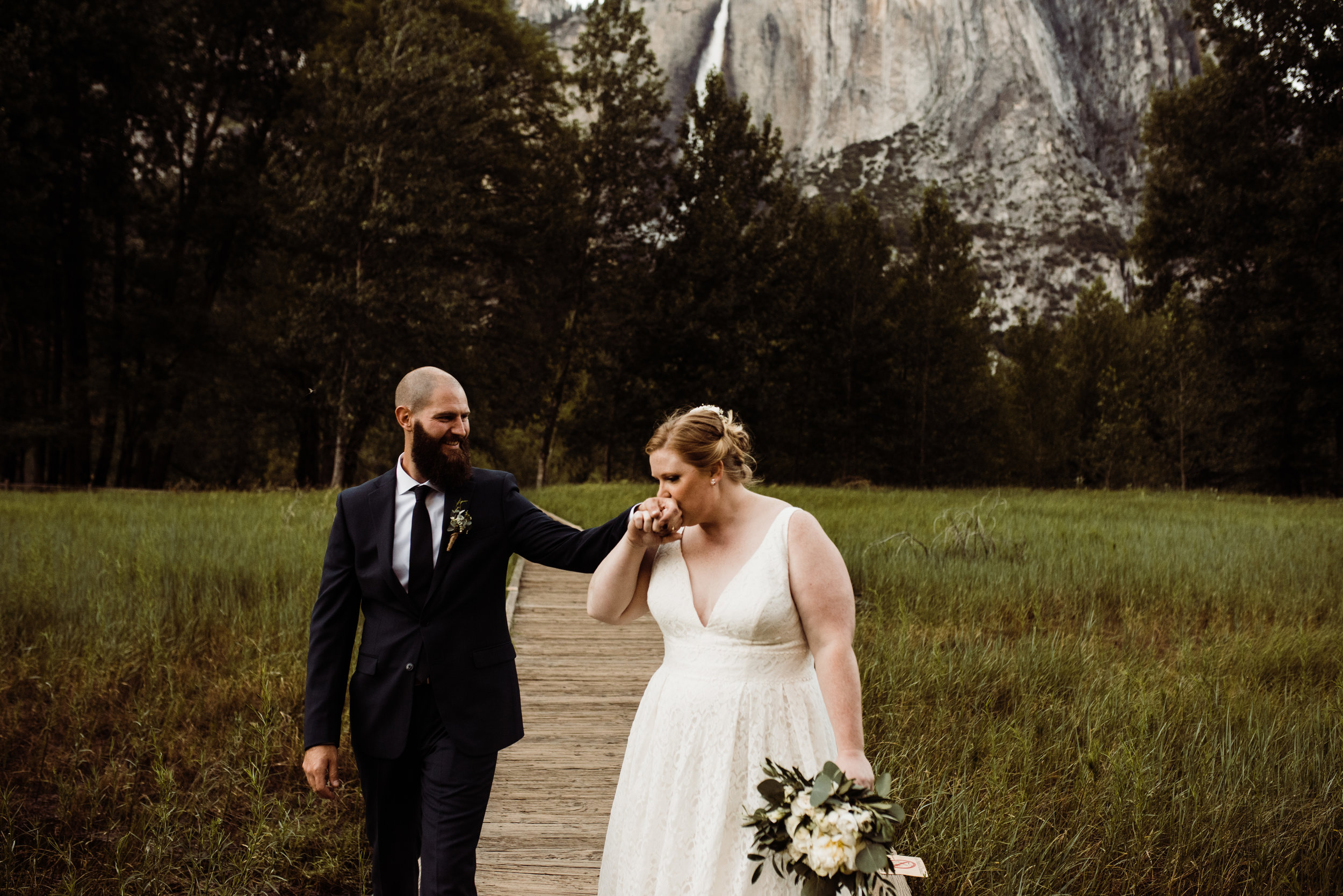 Romantic moment with bride and groom in Yosemite Valley