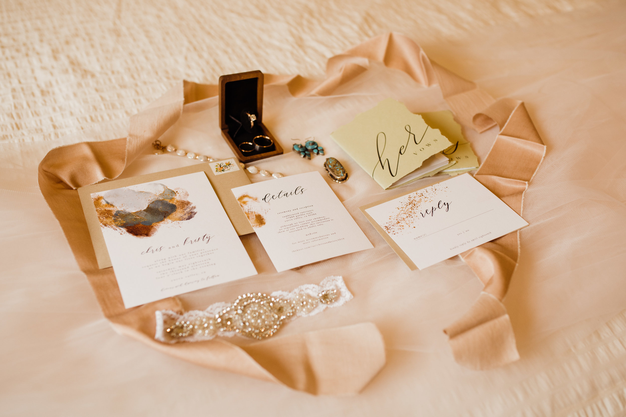 Wedding day details at Joshua Tree Intimate Wedding while bride gets ready at Serenity Escape JT Airbnb