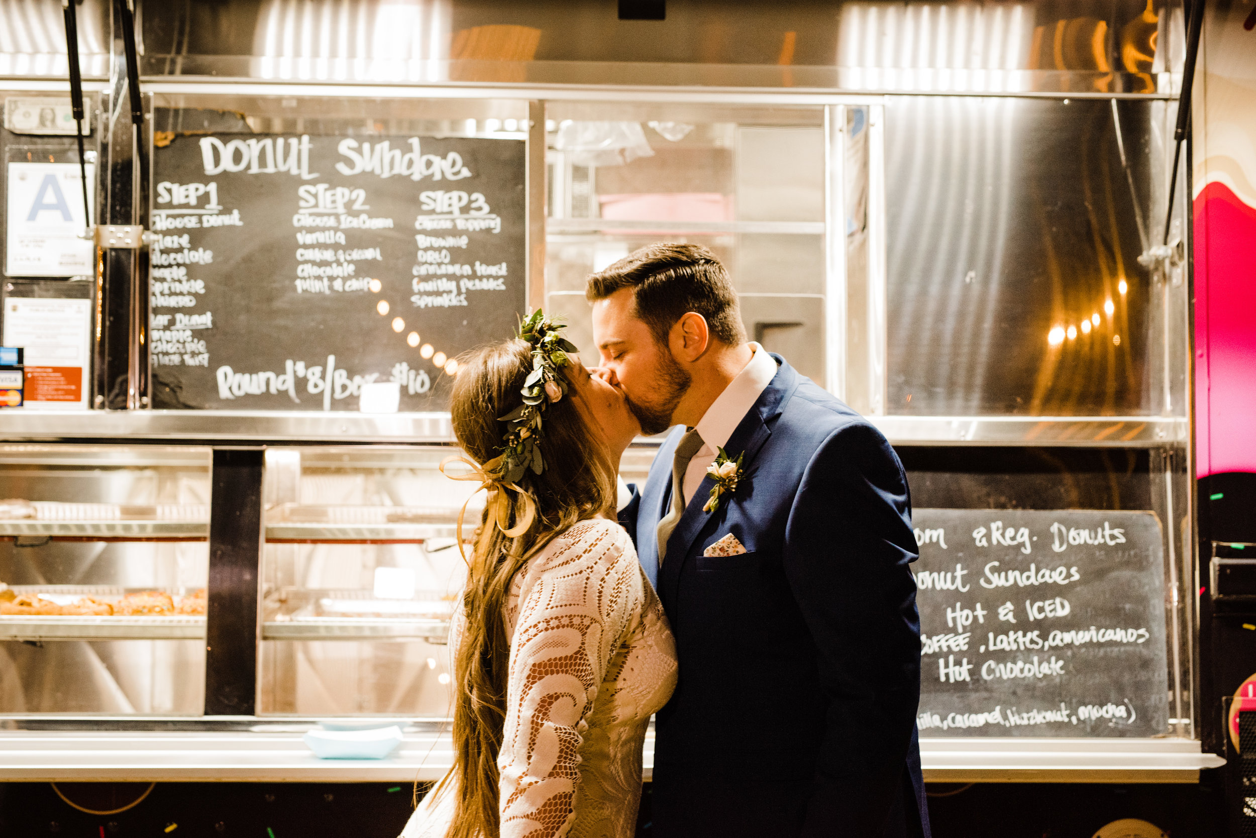 Skip the cake! Bride and Groom opt for cinnamon toast crunch donuts at their Joshua Tree wedding reception at Tumbleweed Sanctuary