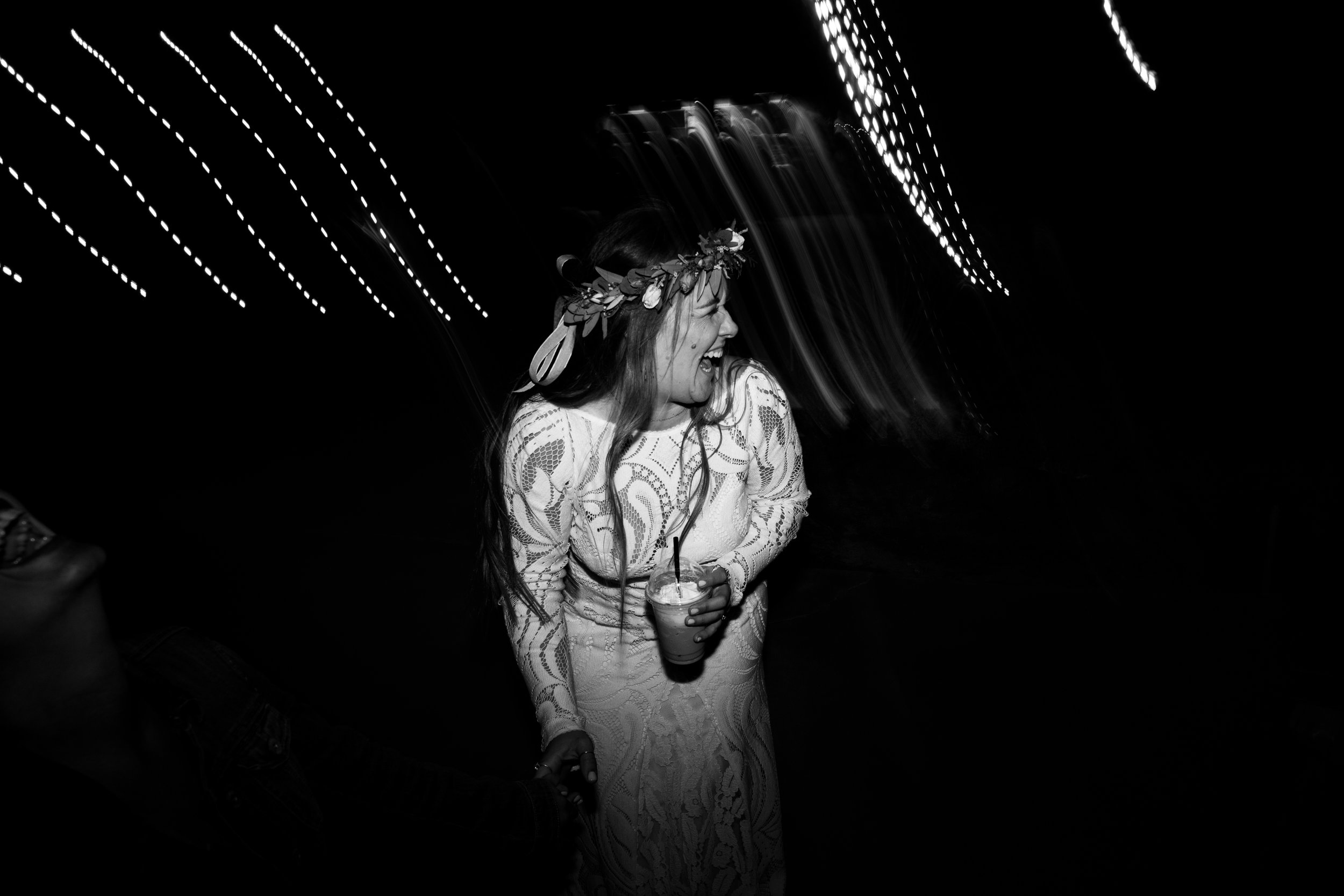 Bride dancing at Tumbleweed Sanctuary Reception
