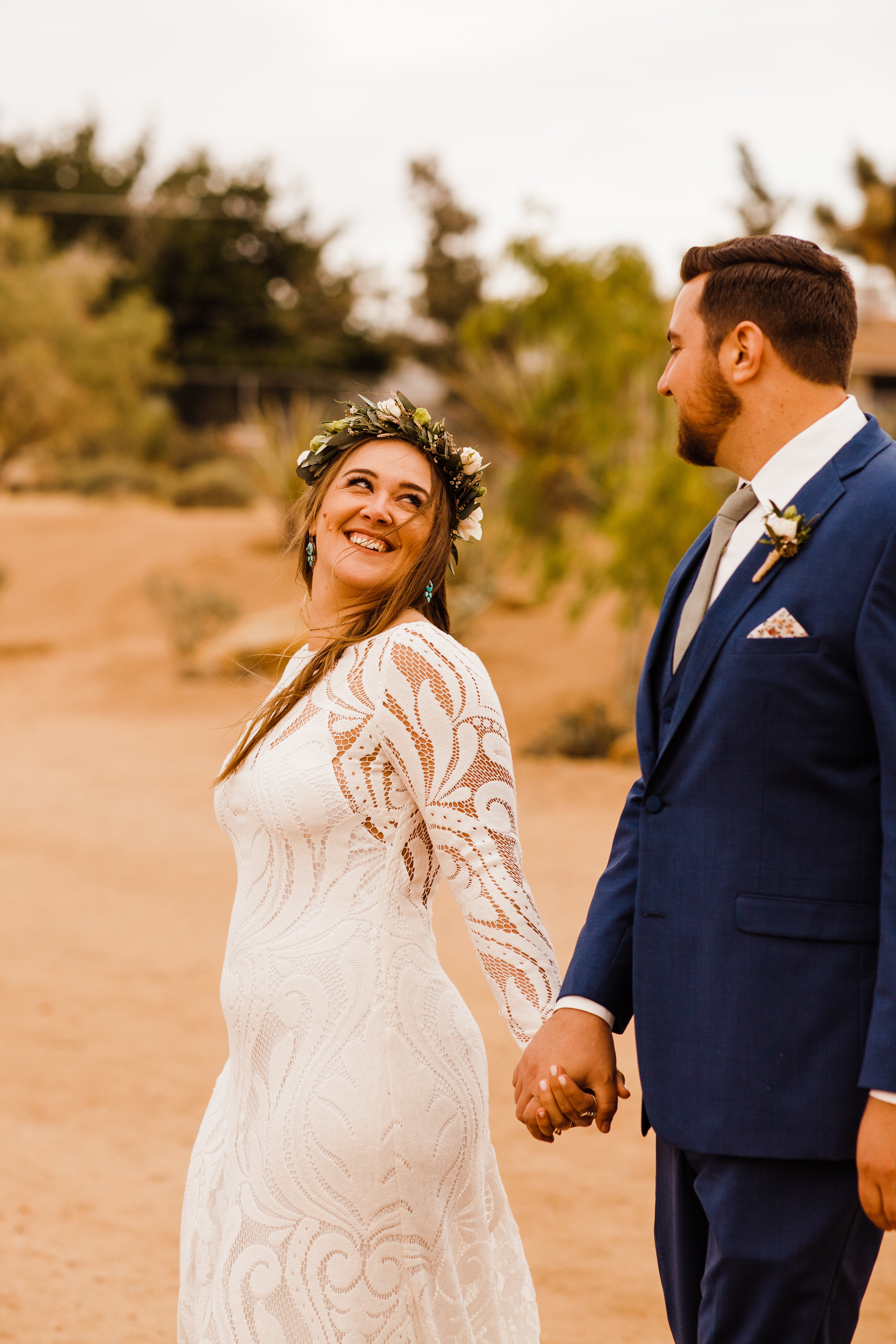 Tumbleweed Sanctuary Wedding - Joshua Tree, CA - Kristy + Chris couples portraits with Hawaiian flower crown