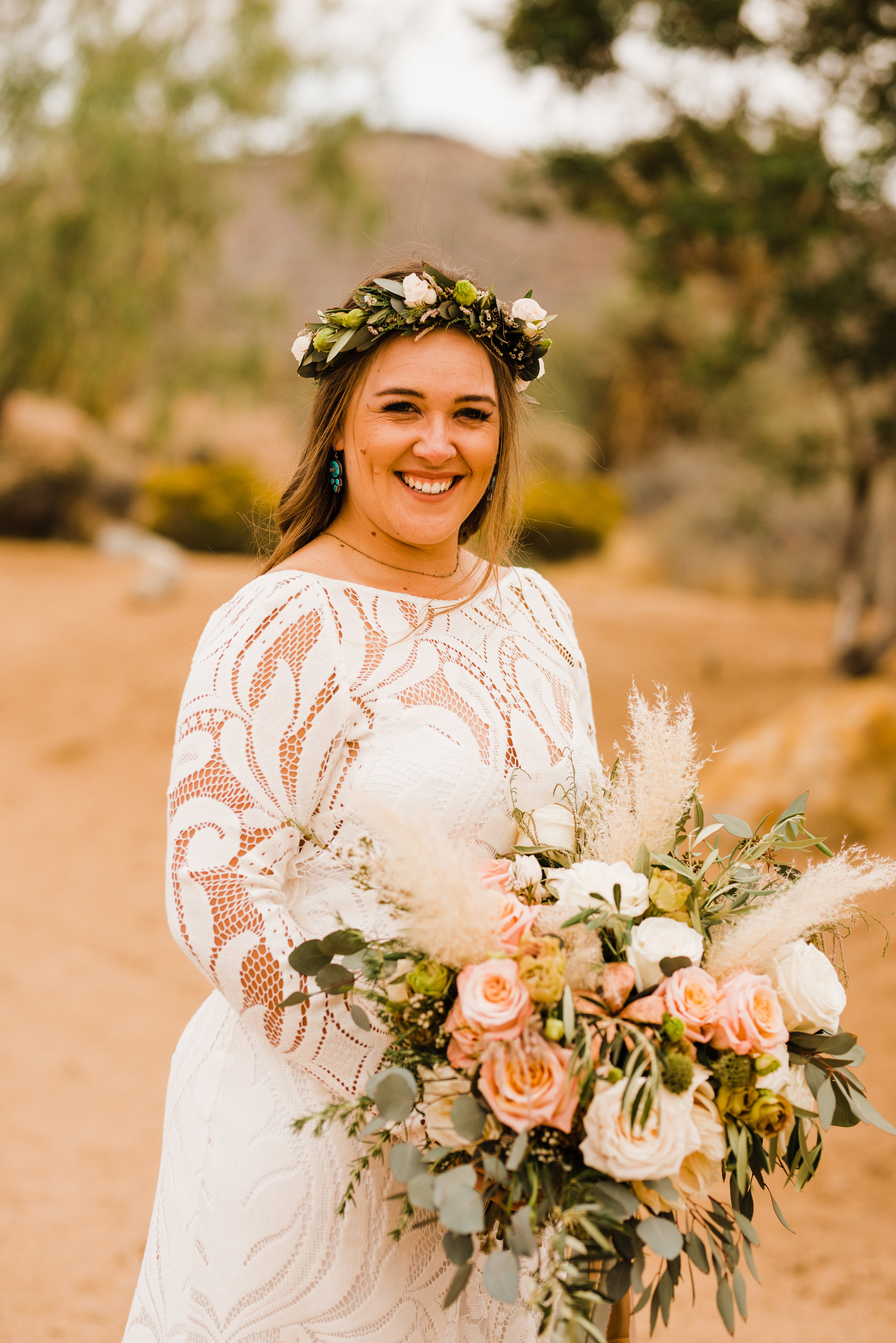 Bridal portrait at Tumbleweed Sanctuary and Garden with Lovers Society dress